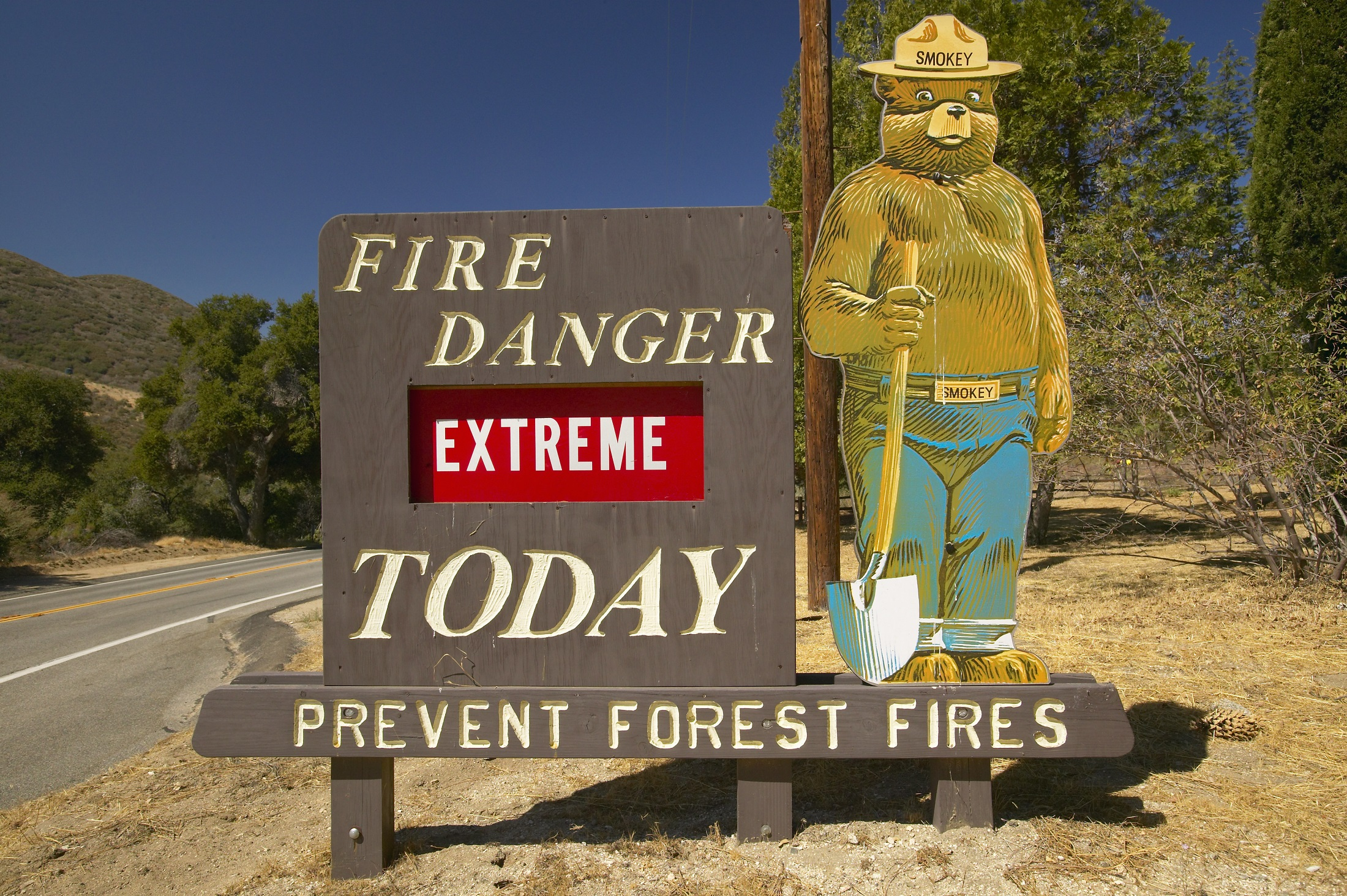 US Forest Service Fire Hazard Sign for Lake Hughes National Forest, California; (photo/Shutterstock)