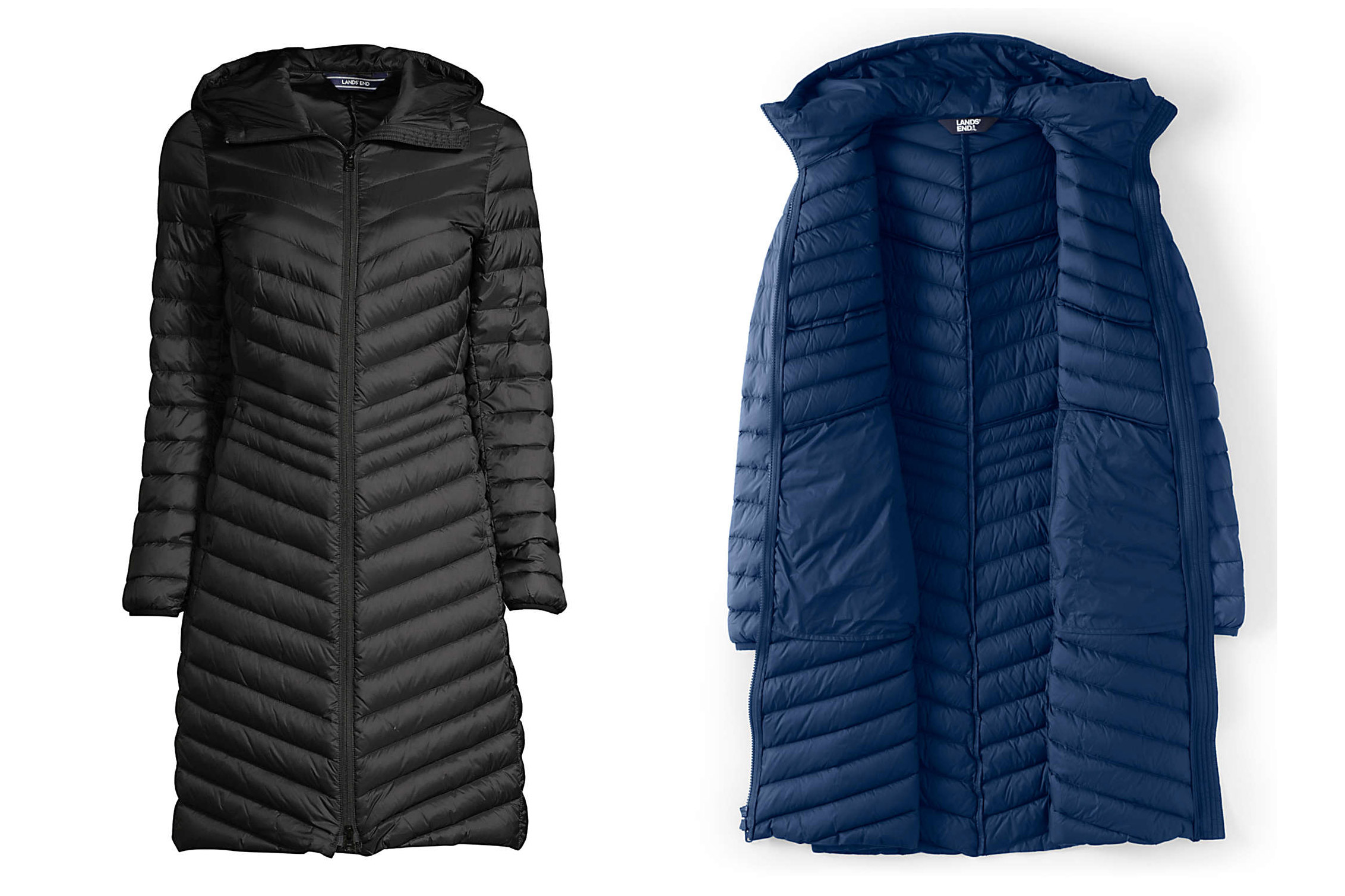 land's end ultralight packable down coat with hood