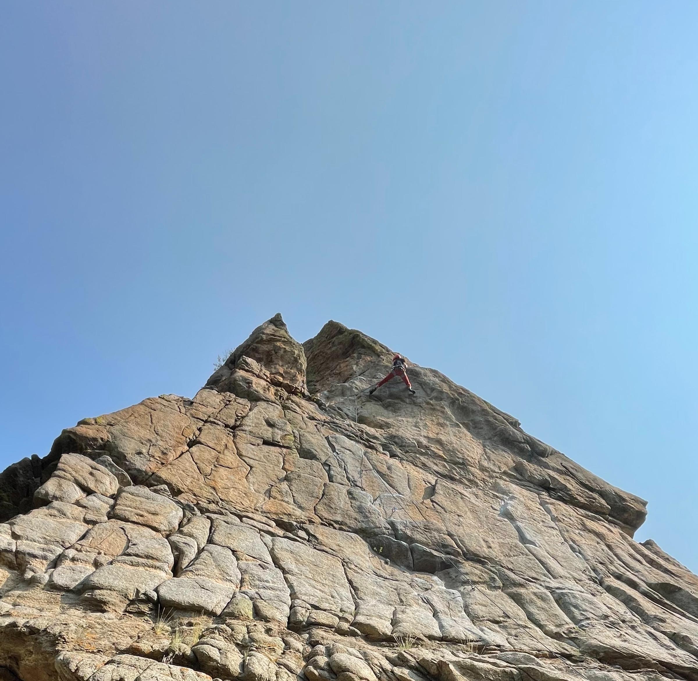 Paige Claassen rock climbing