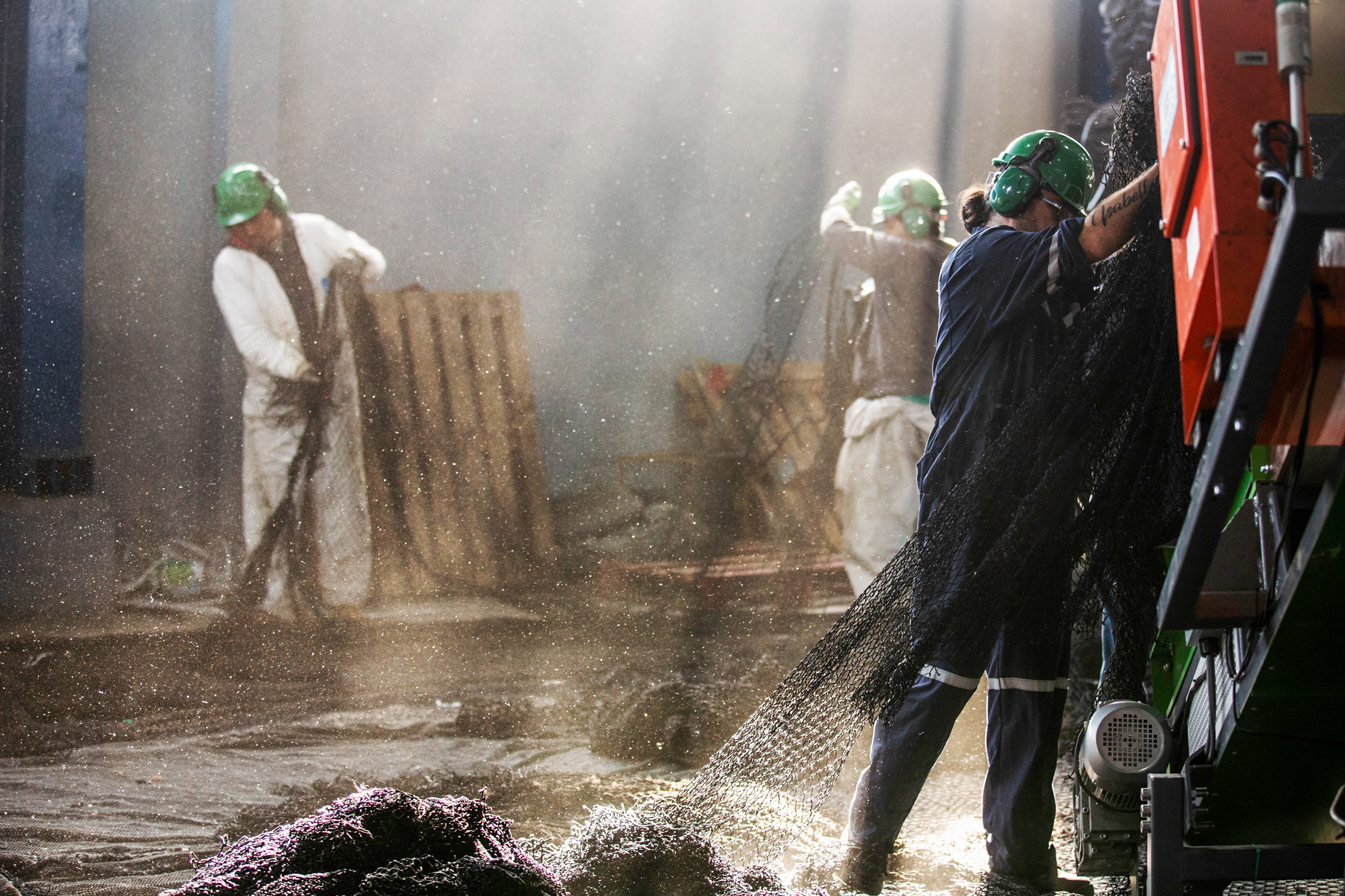 Workers on cutting and shredding stages at Bureo's Warehouse in Concepción
