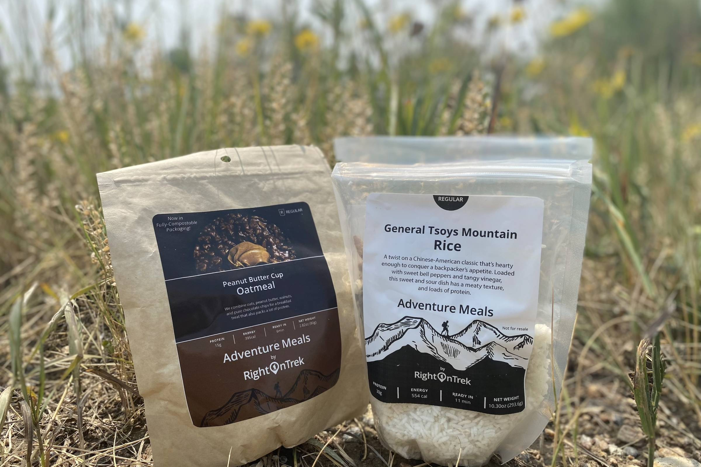 two RightOn Trek backpacking meals, an oatmeal breakfast and an rice entree in their packaging