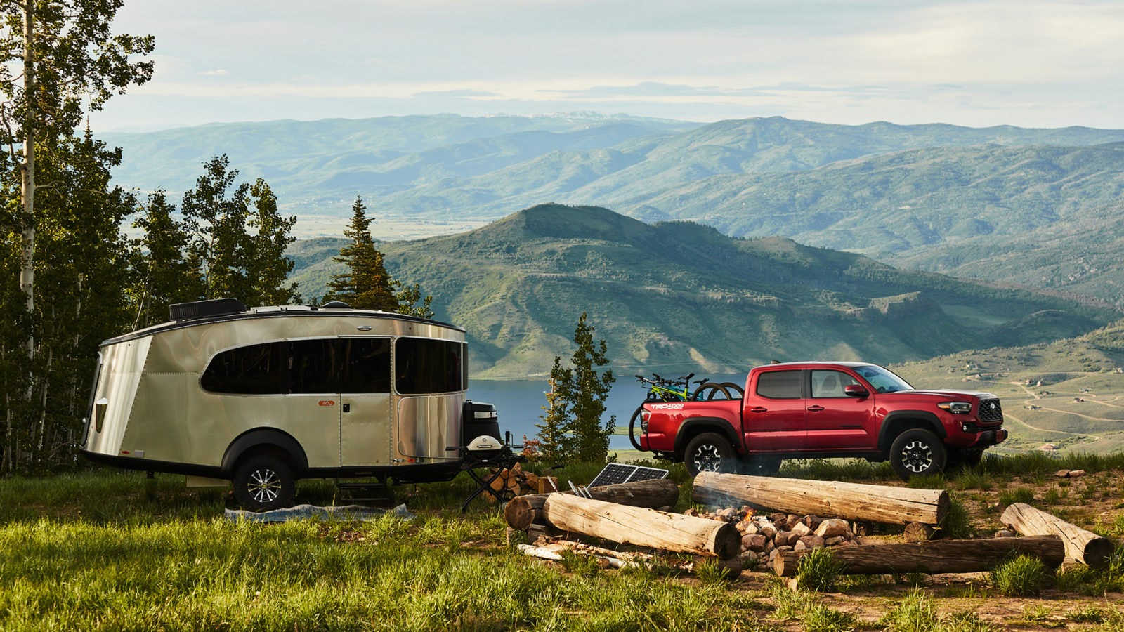 Airstream Basecamp 20 with truck in mountains