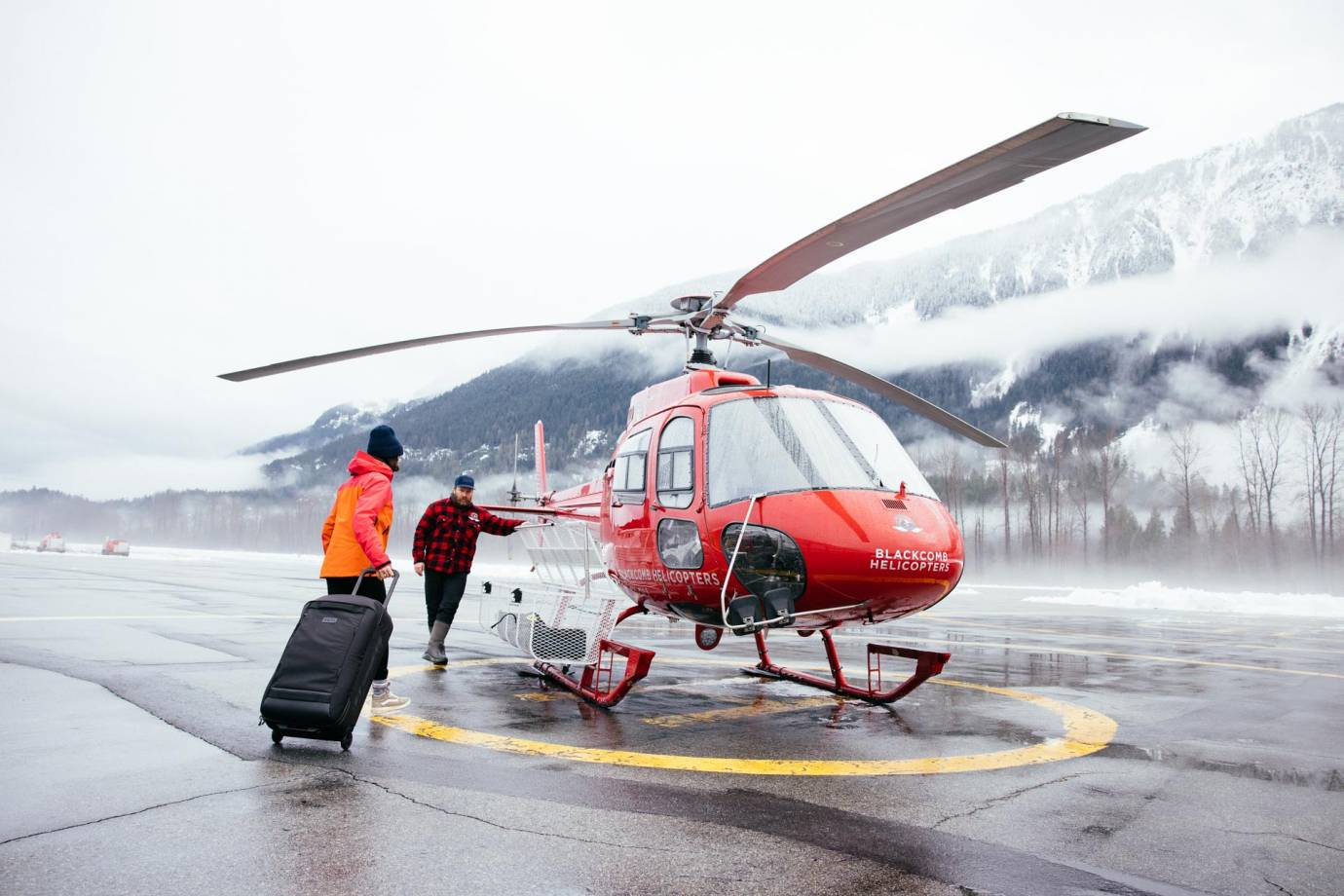 tatum monod walks to helicopter for adventure