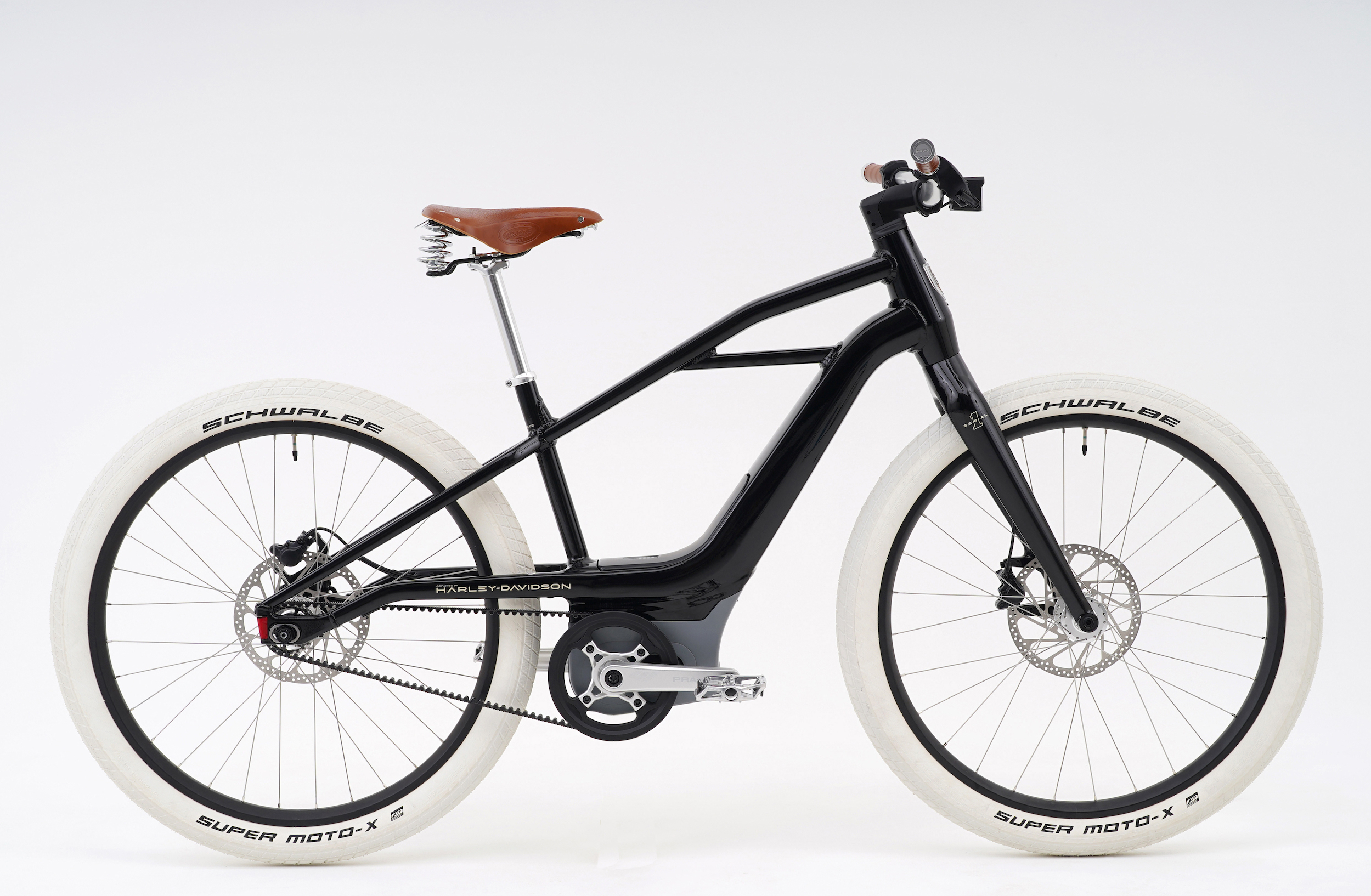 Serial 1 S1 Mosh/Tribute e-bike with white tires and glossy black frame