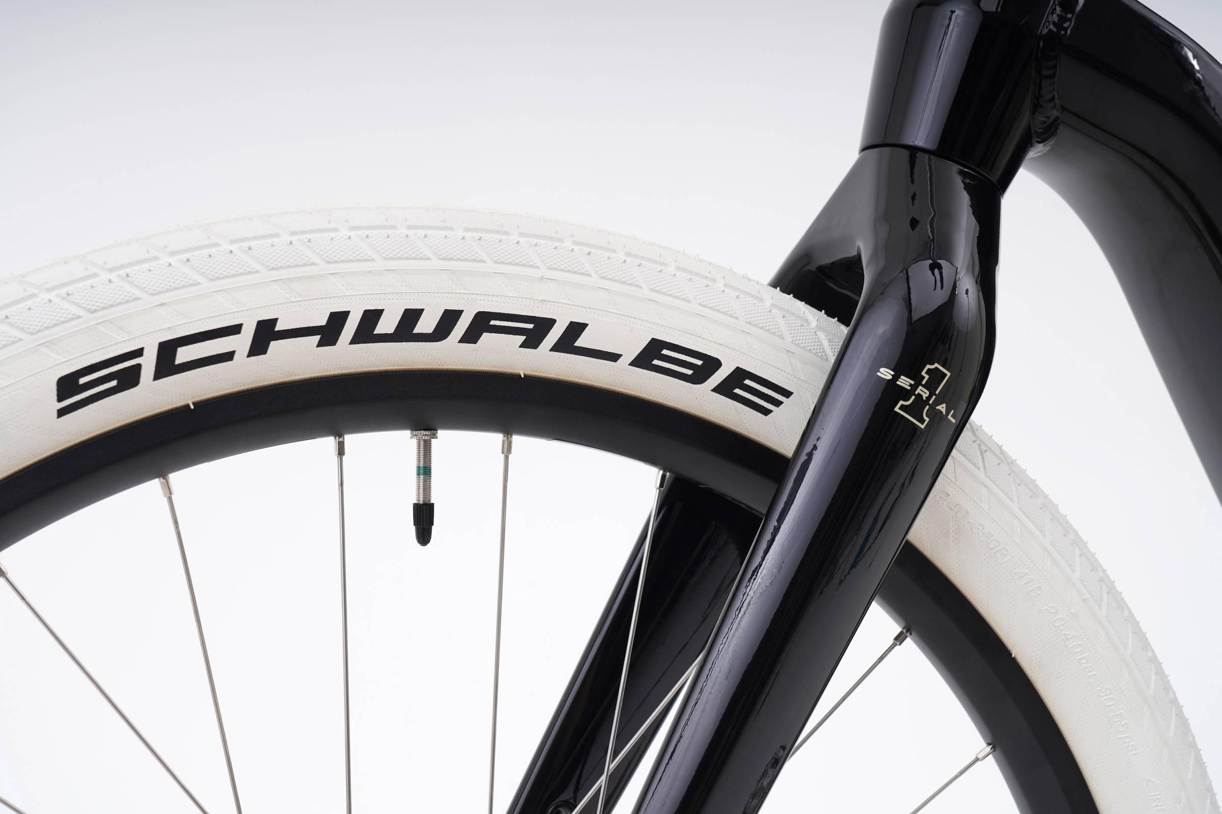 tire detail near the fork on the Serial 1 S1 Mosh/Tribute e-bike
