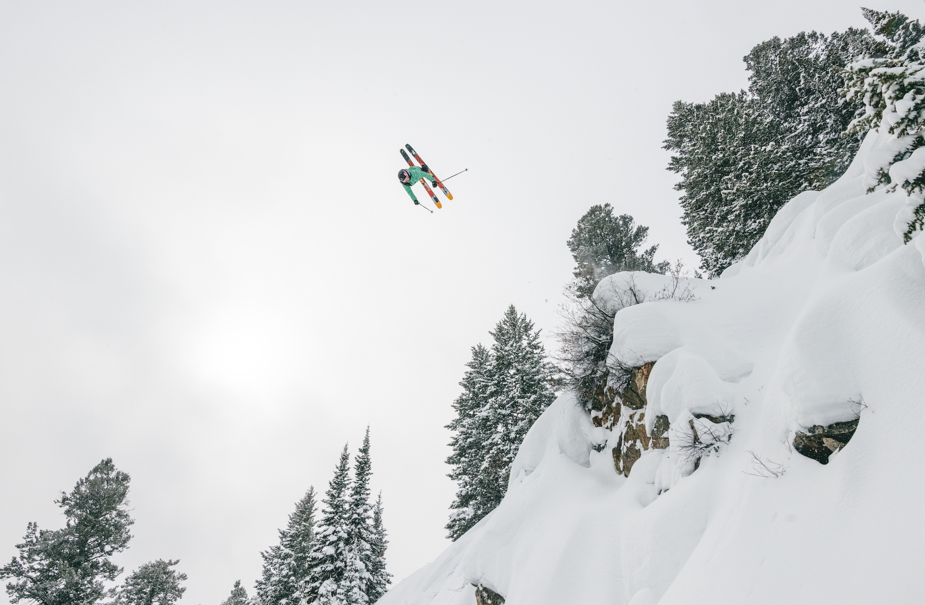 skier Veronica Belle catching major air off jump in Jackson Hole