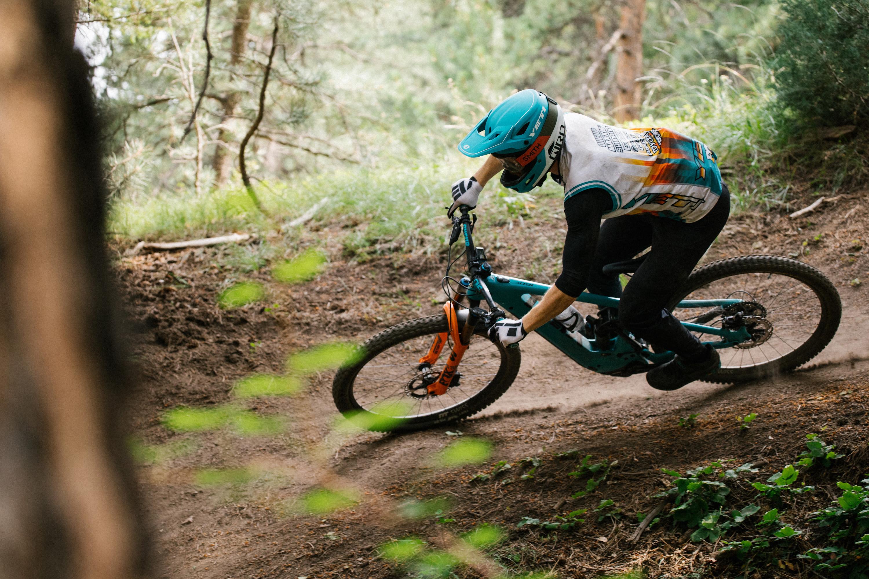 enduro rider on Yeti Bikes 160E e-mountain bike