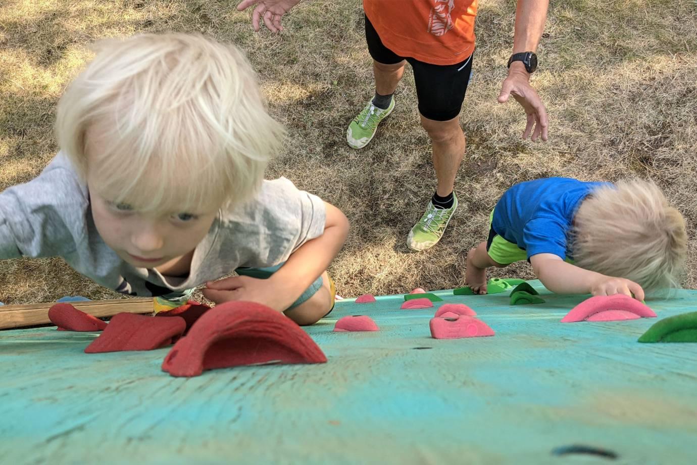 being attentive - dyi kids climbing wall