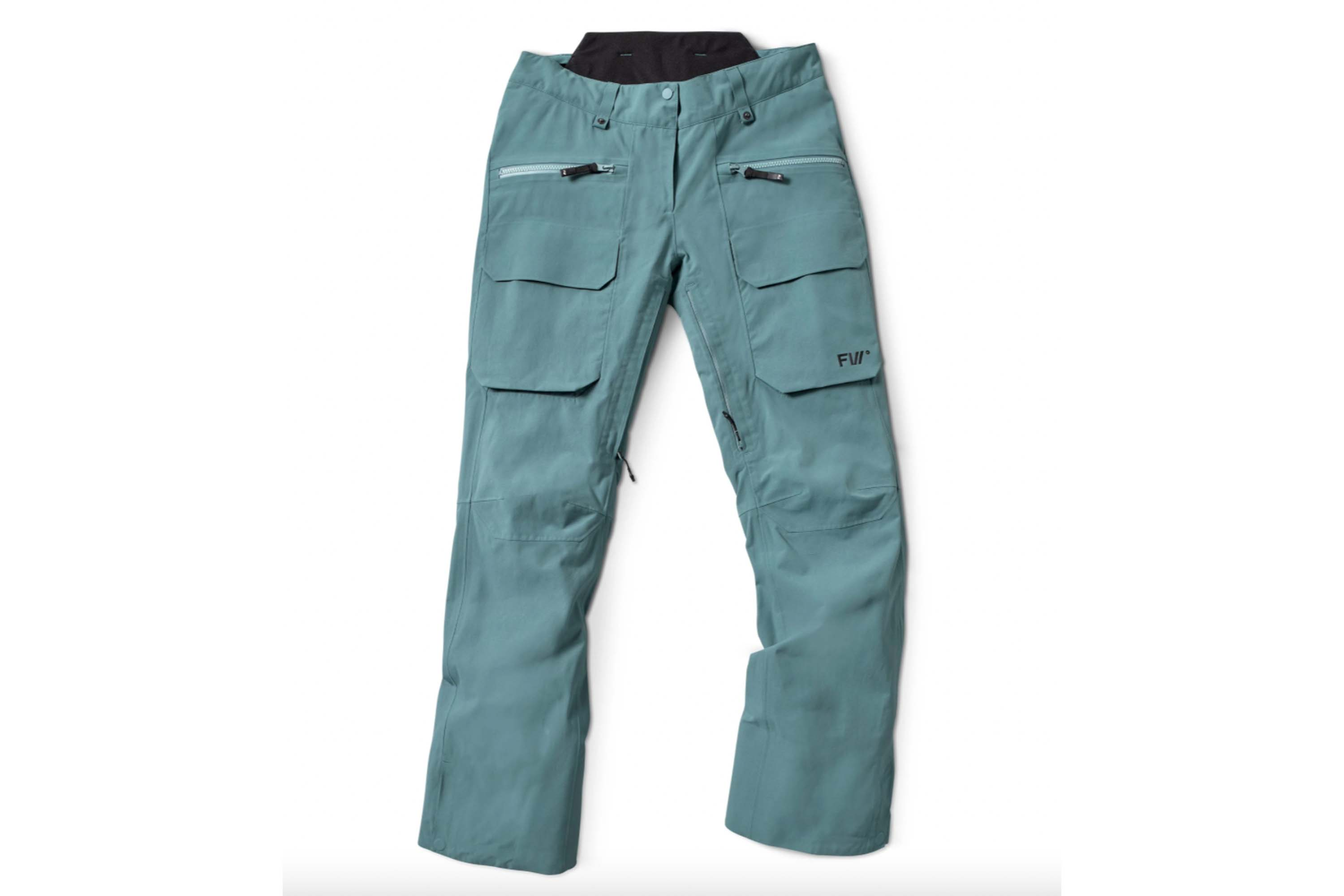 FW catalyst 2-layer ski pants in muted teal with 4 cargo pockets on the front