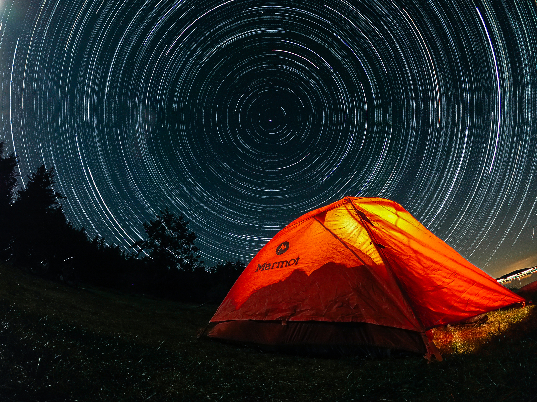 time lapse of stars over Marmot tent with GoPro HERO10 Black camera