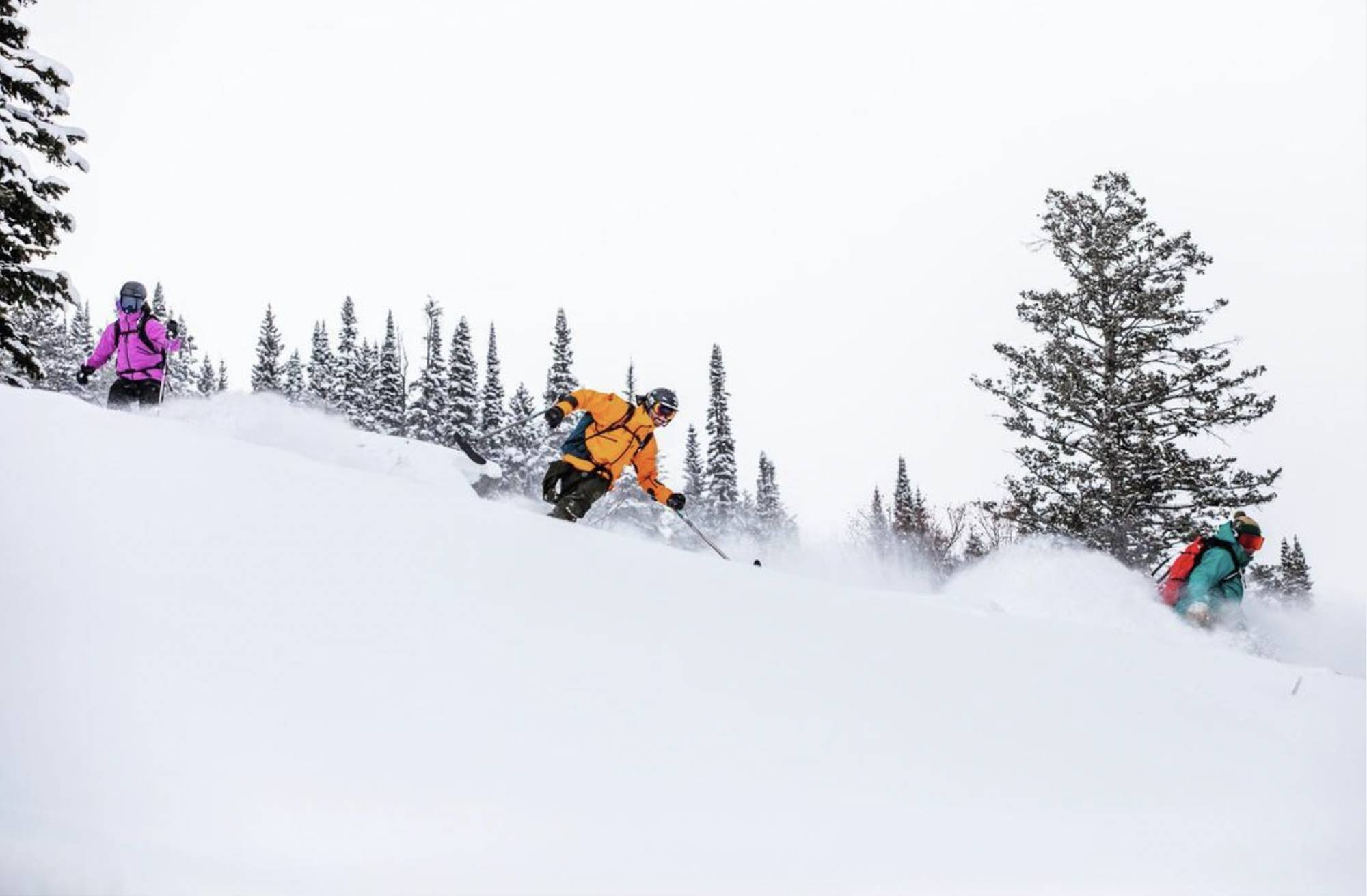 from left to right: ingrid backstrom, vasu sojitra, and emilé zynobia skiing in the PNW