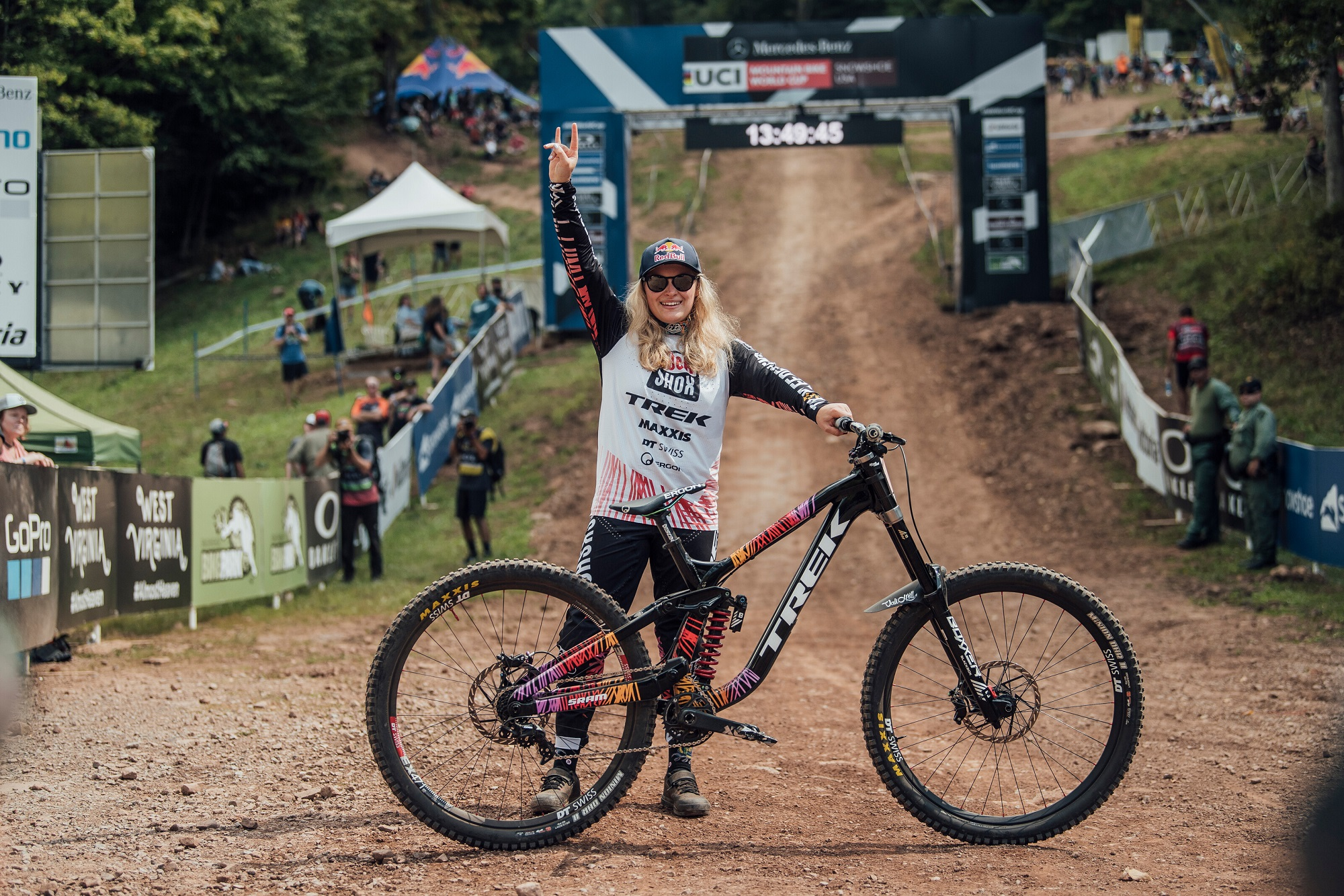 Vali Holl performs at UCI DH World Cup in Snowshoe, USA on Sep. 18, 2021; (photo/Bartek Wolinski, Red Bull Content Pool)