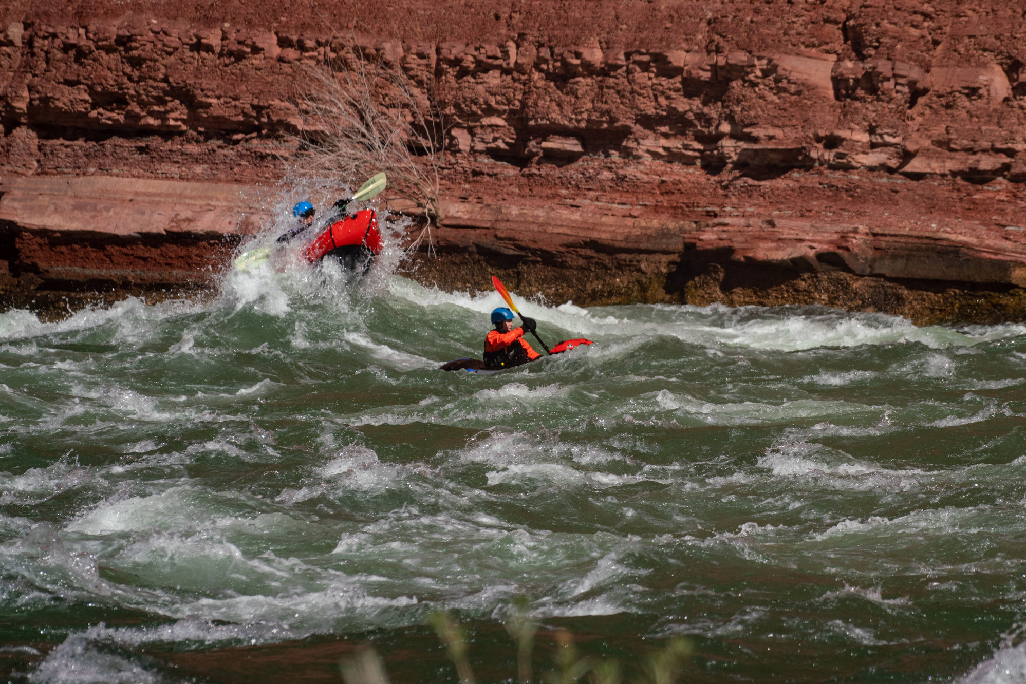 winter grand canyon packrafting - rapids