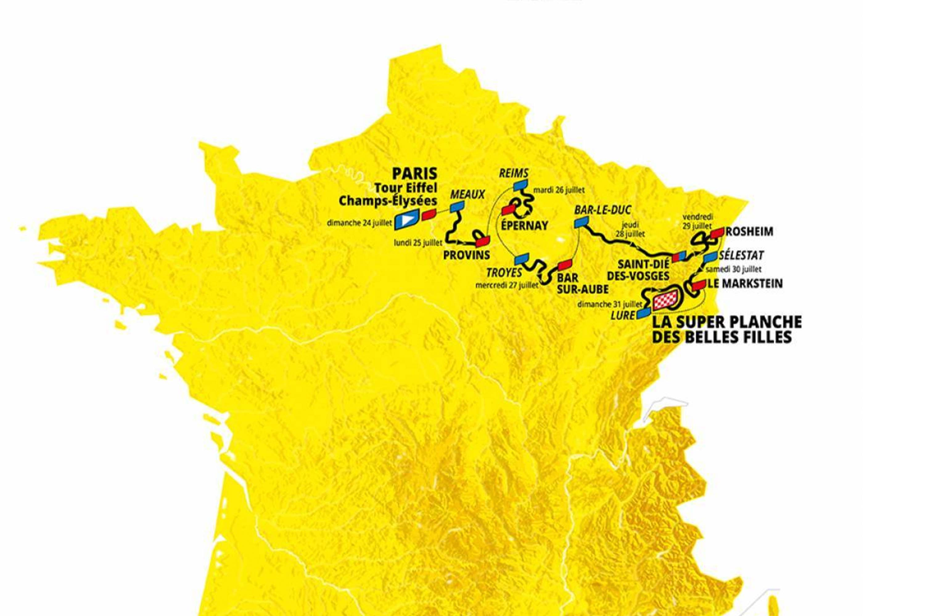 tour de france femmes route from paris to eastern france with start and finish dates imposed on a yellow map of france