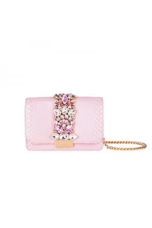 Clicky bag with crystals GEDEBE   31   CLIKY PYTHON PINK PEARLY08
