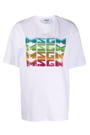 T-shirt con logo paillettes MSGM | 8 | 2842MDM28420749801