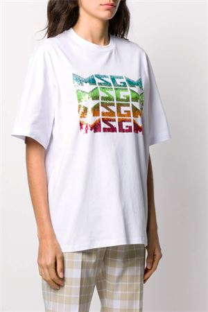 T-shirt with sequin logo MSGM | 8 | 2842MDM28420749801