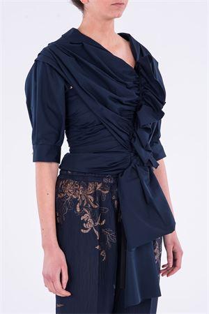 Camicia blu con rouches ALBINO TEODORO | 5032237 | BL506 T03312572