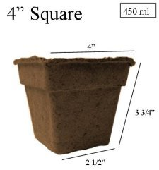 "CowPots 4"" Square Case 180 Pots - Biodegradable"