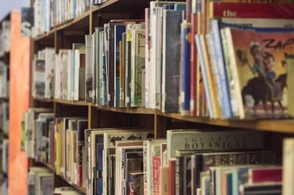 Shelves full of books at the library