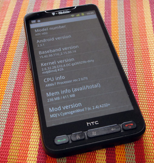 HTC HD2 running Android Gingerbread