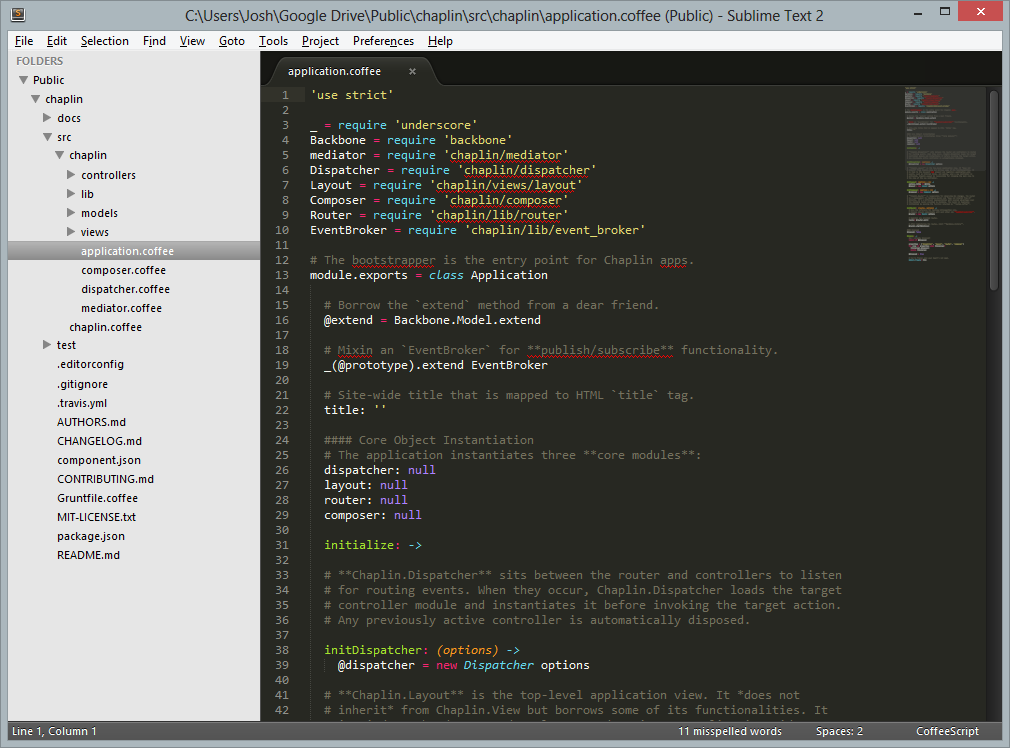 Sublime Text 2 showing CoffeeScript syntax highlighting
