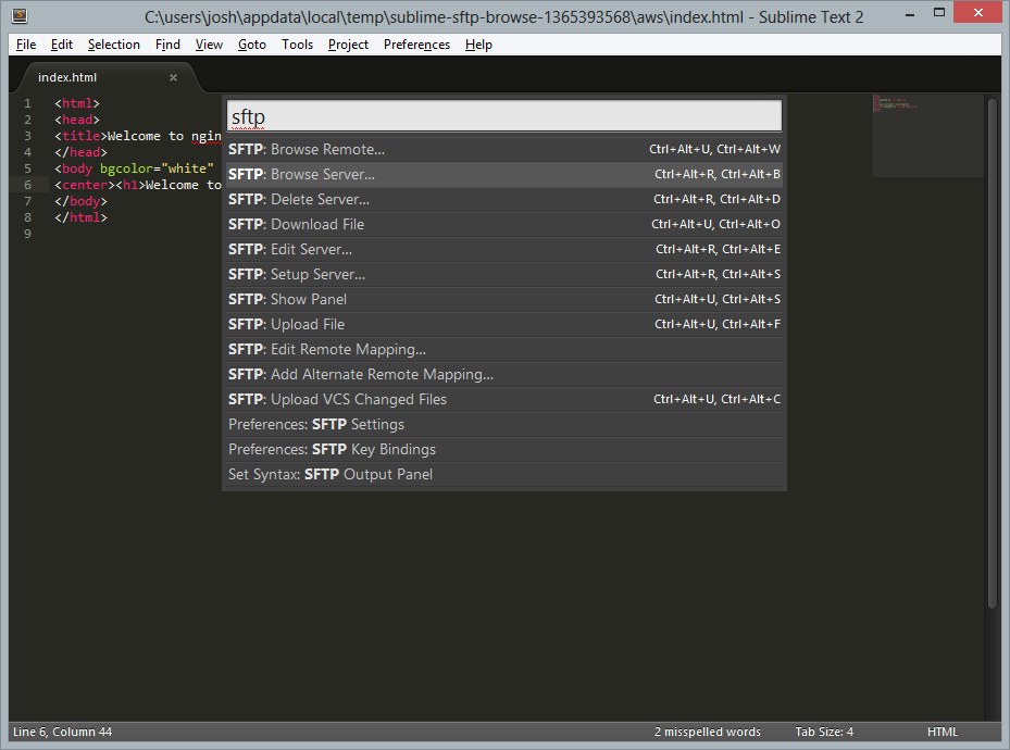 Command Palette for SFTP in Sublime Text, with Browse Server… highlighted