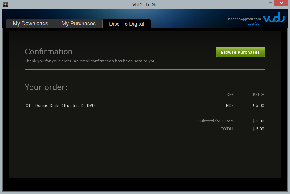 Screenshot showing a $5 DVD to HDX video conversion using VUDU To Go BETA