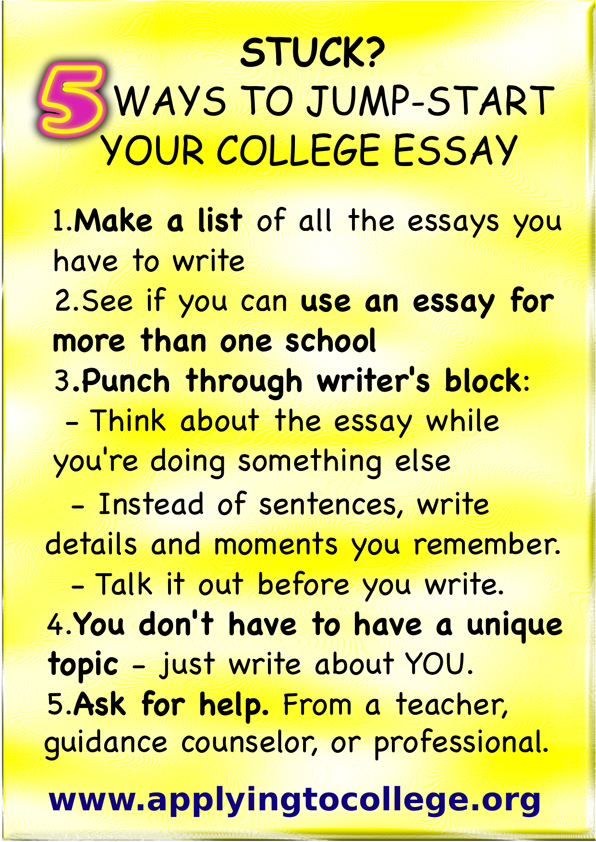 Ways To Jumpstart Your College Essay  Ways To Reduce Stress How Are Those College Application