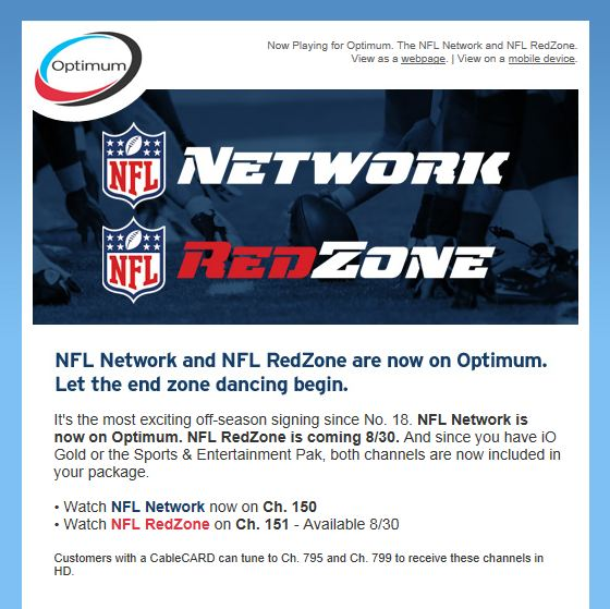 Anyone Get This Email Announcing the NFL Network is Now on Optimum?