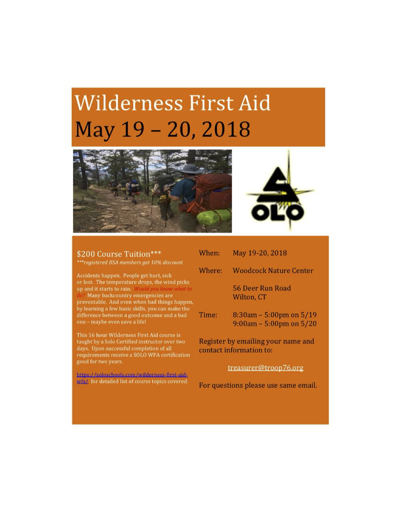 Wilderness First Aid Training May 19 20 At Woodcock Nature Center