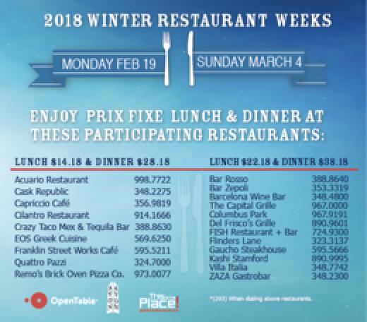 Stamford Downtown Winter Restaurant Weeks Feb 19 March 4