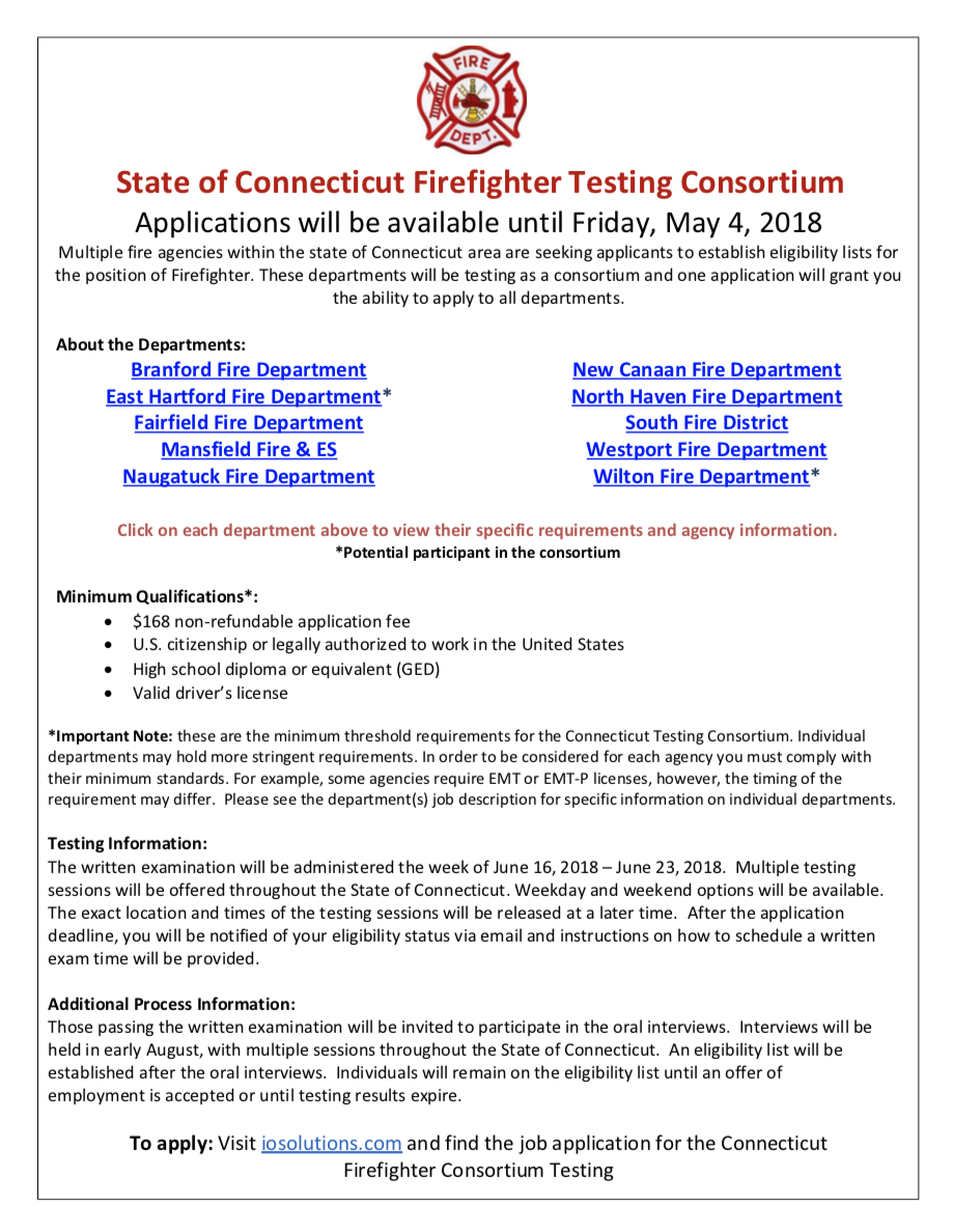 CT Statewide Firefighter Test Announced