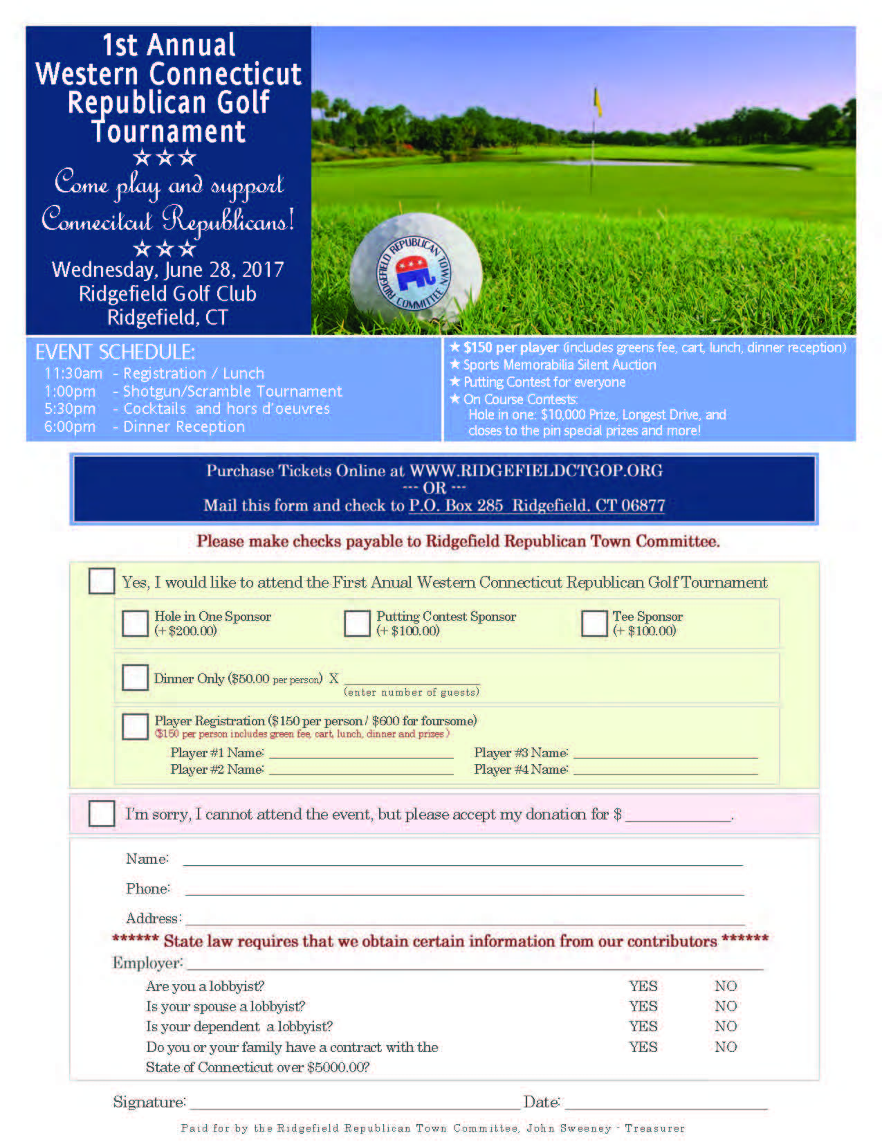 ridgefield republican town committee golf tournament planned for
