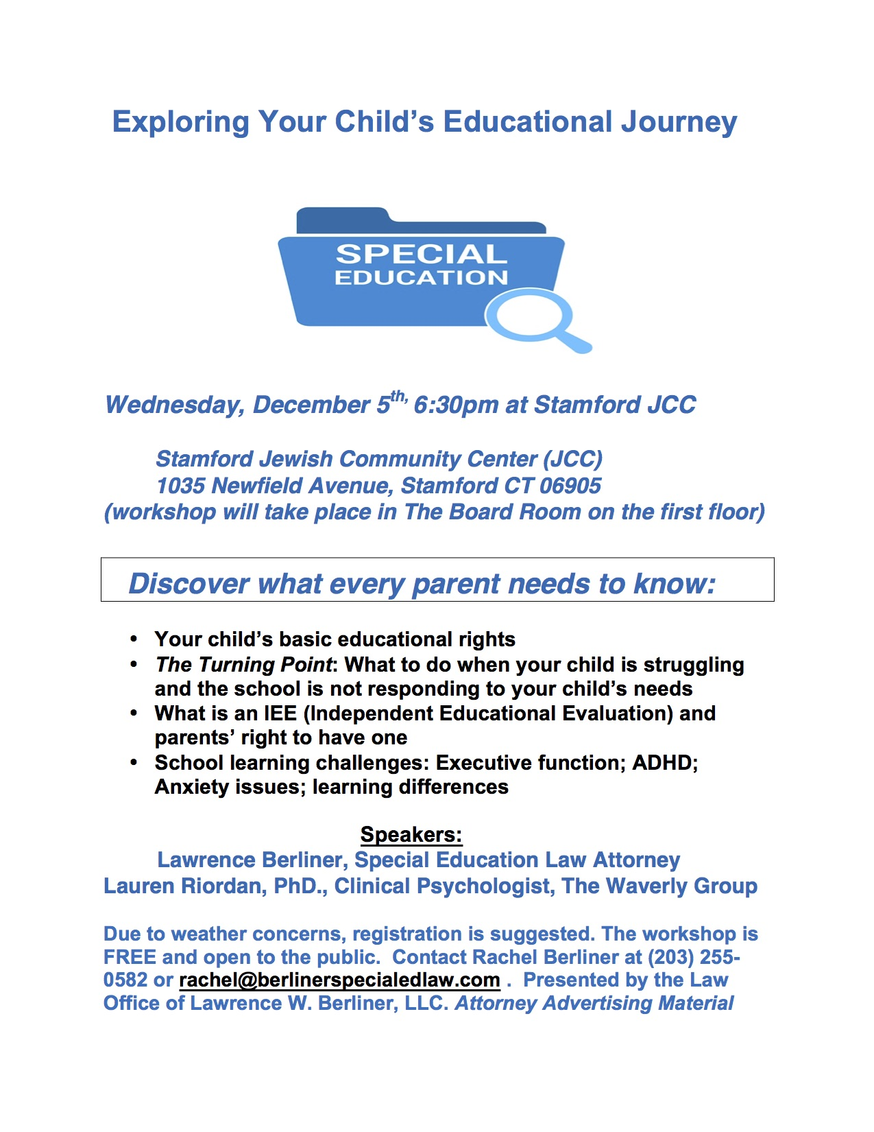 Parents Know Your Special Education >> December 5th Special Education Parent Workshop In Stamford