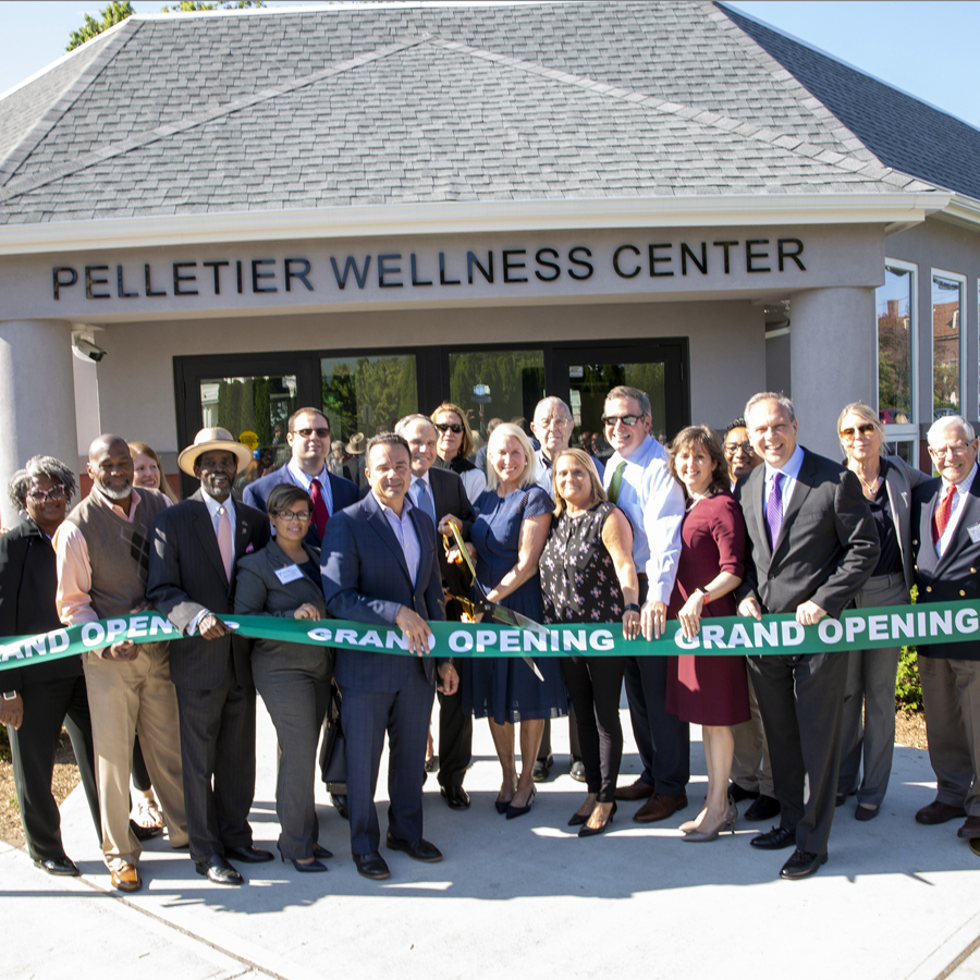 Pictured at the ribbon-cutting ceremony from left to right:Maggie Young, MSW, LADC, Chief Recovery Officer; State Representative Andre Baker; Roberta Cohen, Board Member; Bridgeport Councilman Ernie Newton; Maritza Bond, MPH, Director of Health and Social Services, City of Bridgeport; Tom Pelletier; Joe Ganim, Mayor, City of Bridgeport; Steve Pelletier; Ali Milne, Board Member; Sallyan Pelletier, Board Member; Mort Lowenthal, Board Member; Joanne Montgomery, Chief Clinical Officer; John Hamilton, President and CEO; Bonni Hopkins, PhD, Chief Operating and Innovation Officer; Omar Garro, Chief Financial Officer; Wayne Cafran, Board Chair; Cini Shaw, Board Member; John Bassler, Board Member