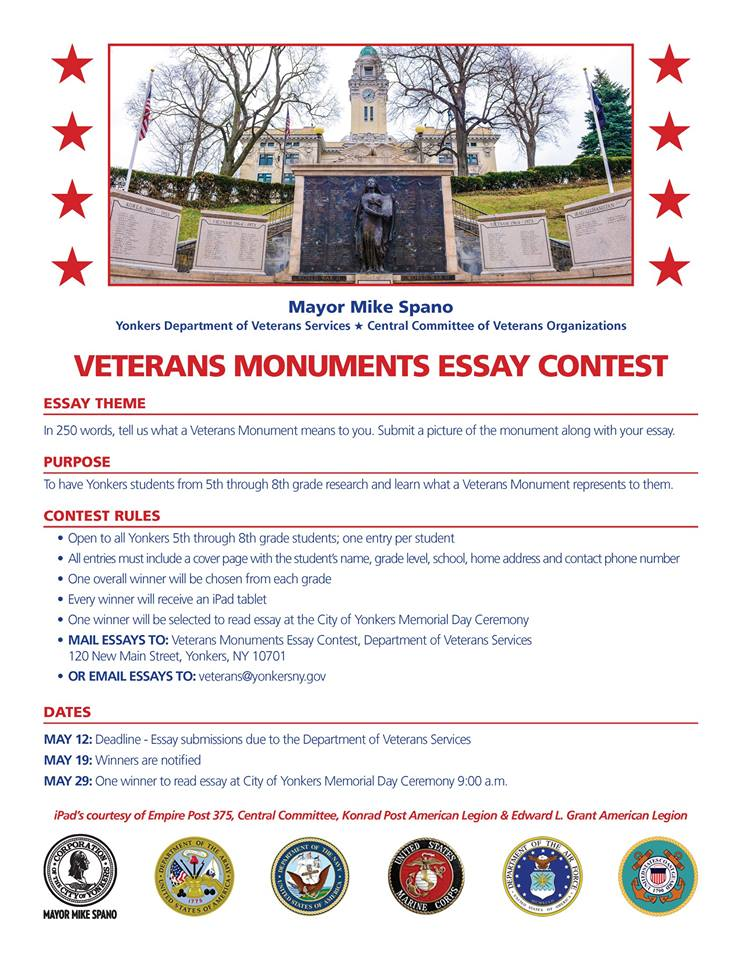 Yonkers Veterans Essay Contest  Sample Essay Paper also Essay On Health Promotion Diy Projects At Home