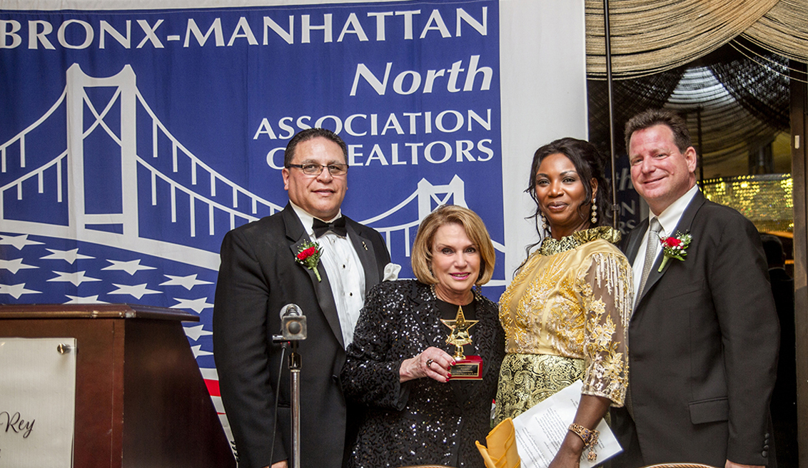 Left to right: Eliezer Rodriguez, Esq., Chief Executive Officer, Bronx-Manhattan North Association of Realtors; Kathy Zamechansky, President, KZA Realty Group, Inc.; Christina Leigh-Stevens, BMNAR President, Laujel Realty Corp.; William Schur, Vice President, Schur Management, Ltd., and Chairman of the Awards Dinner. Photo Credit: Silvio Pacifico Photography