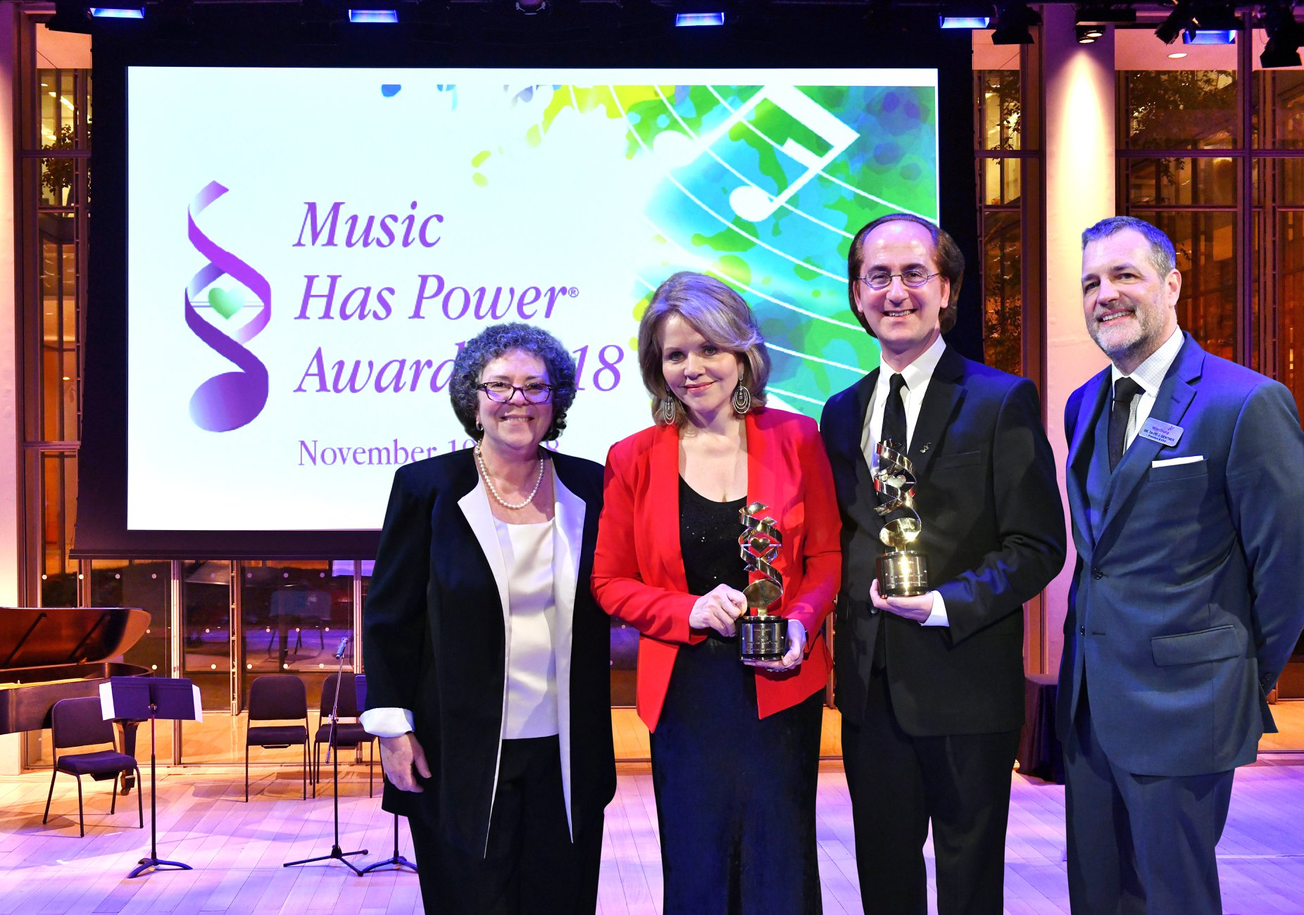 Dr. Concetta Tomaino, Renée Fleming, Harry Ballan and David J. Gentner