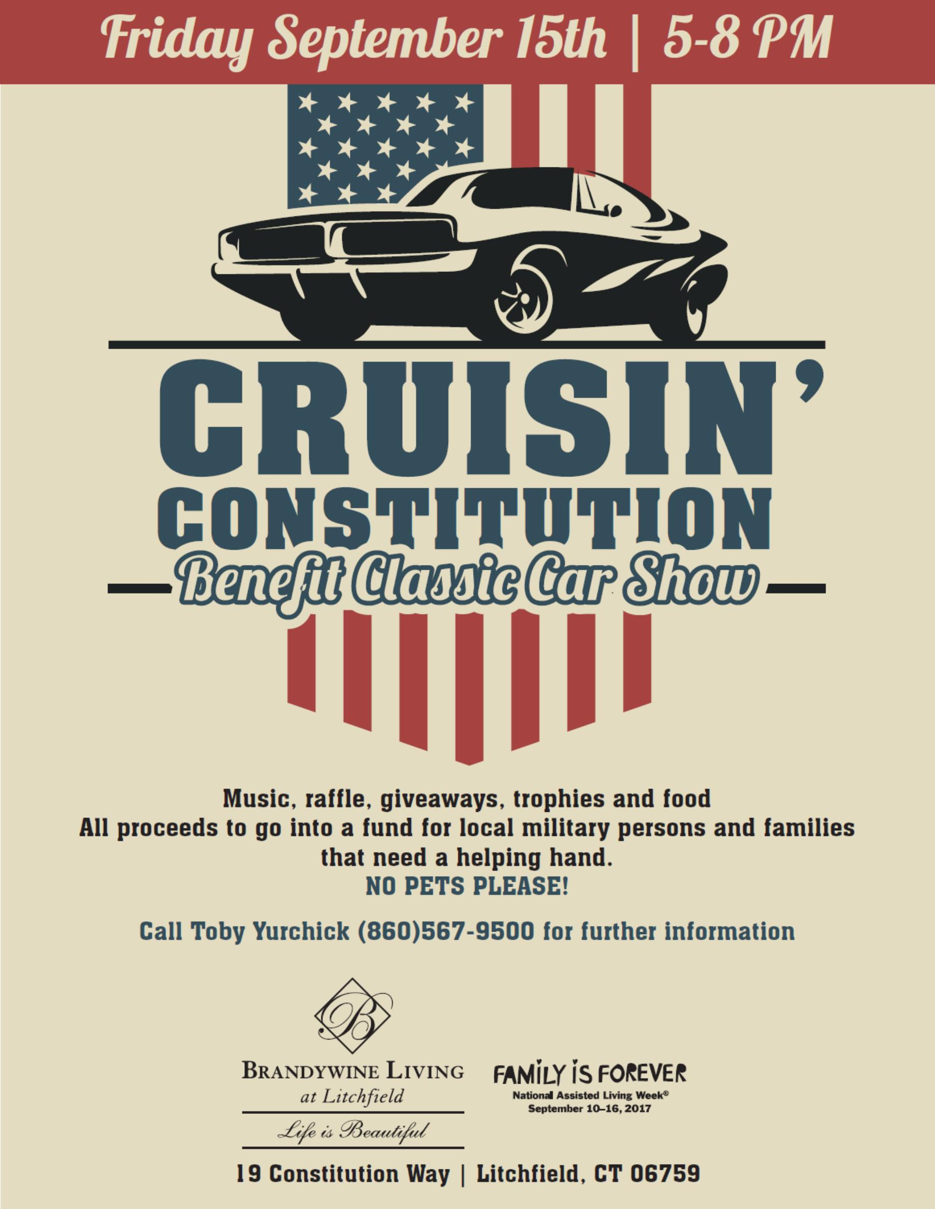 Cruisin Constitution Benefit Car Show On September - Car show giveaways