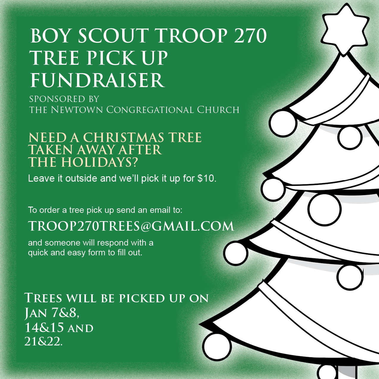the boy scouts will pick up trees at peoples homes throughout newtown and ask for a 10 donation to take it away - Boy Scout Christmas Trees