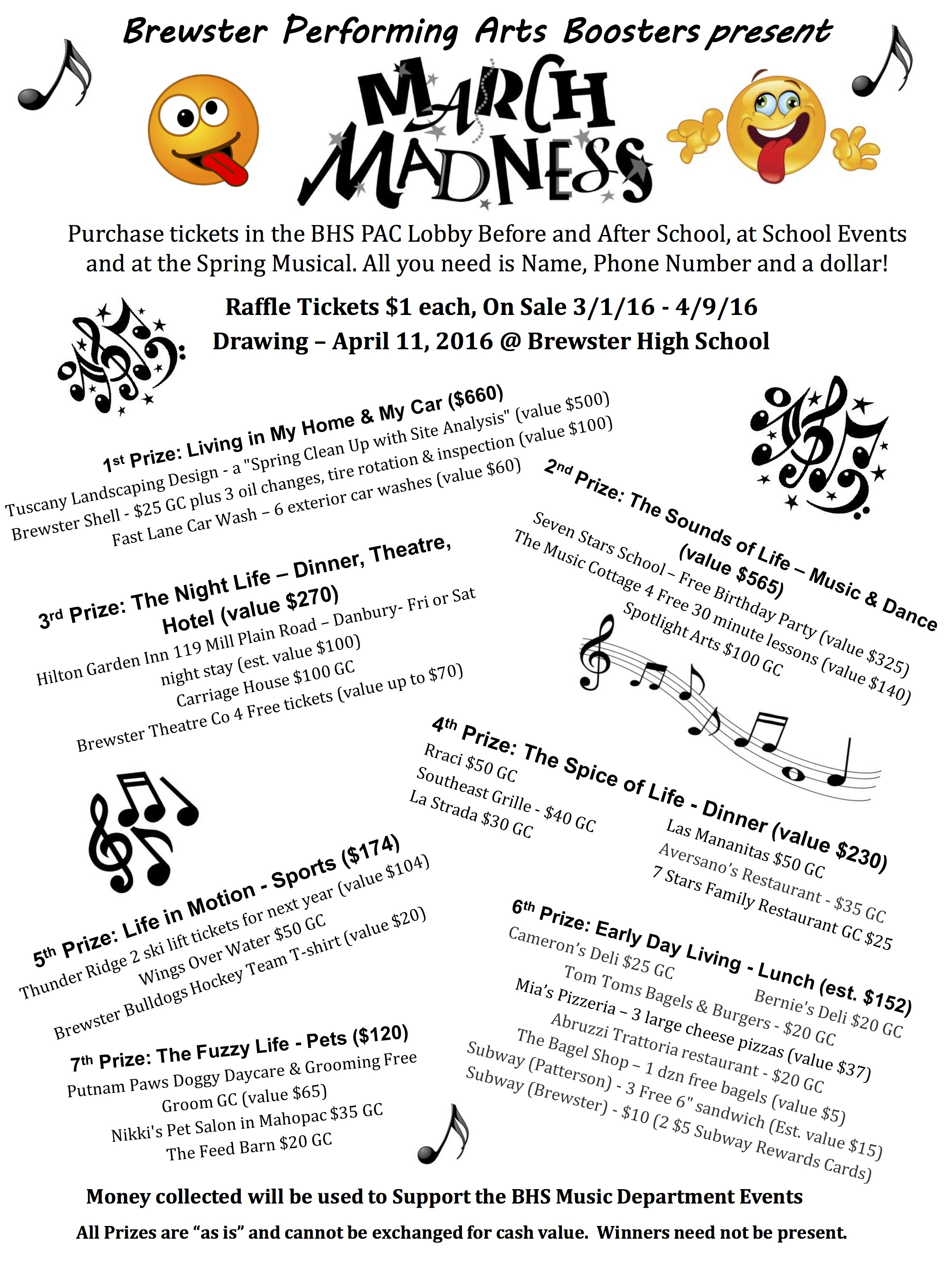 march madness raffle to support bhs performing arts