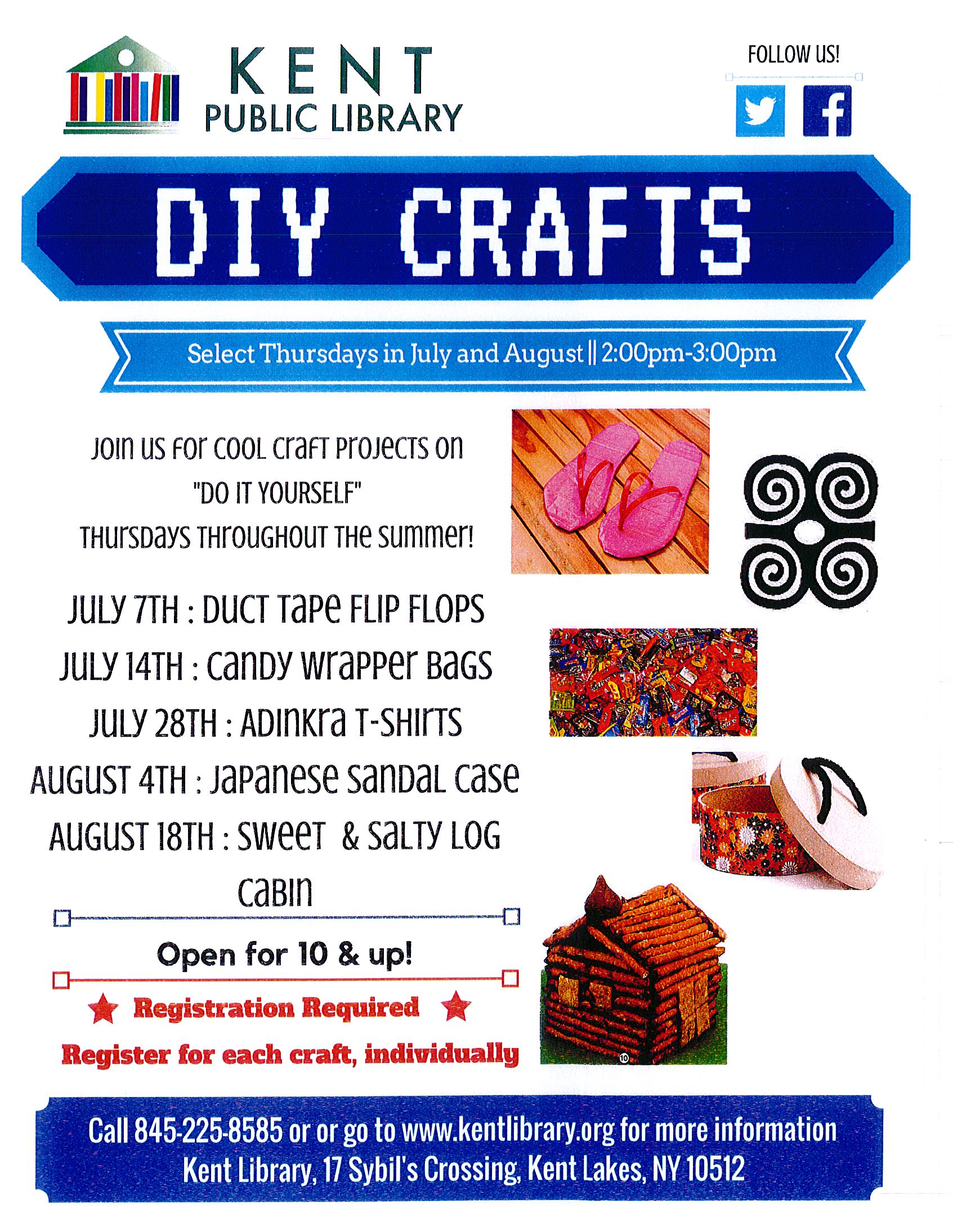 Do it yourself crafts on thursdays for ages 10 throughout the summer the kent public library will be holding diy do it yourself crafts get in touch with your creative side on select thursdays in july solutioingenieria Choice Image