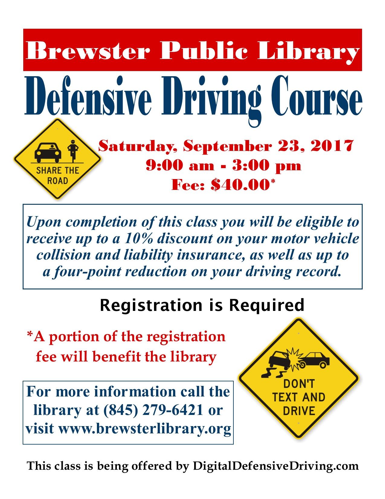 Defensive Driving Course September 23 at Brewster Library