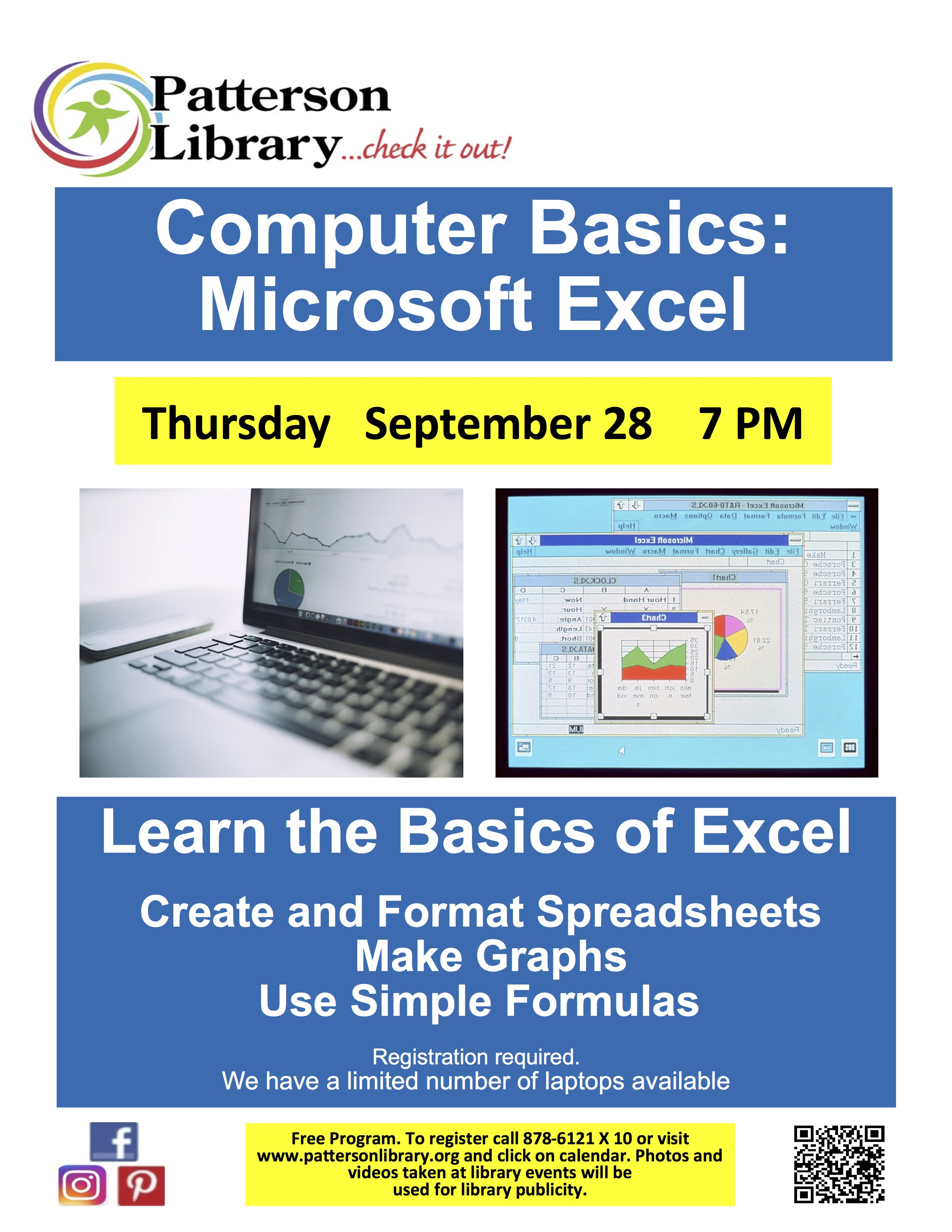 Learn the Basics of Excel at Patterson Library on Sept 28