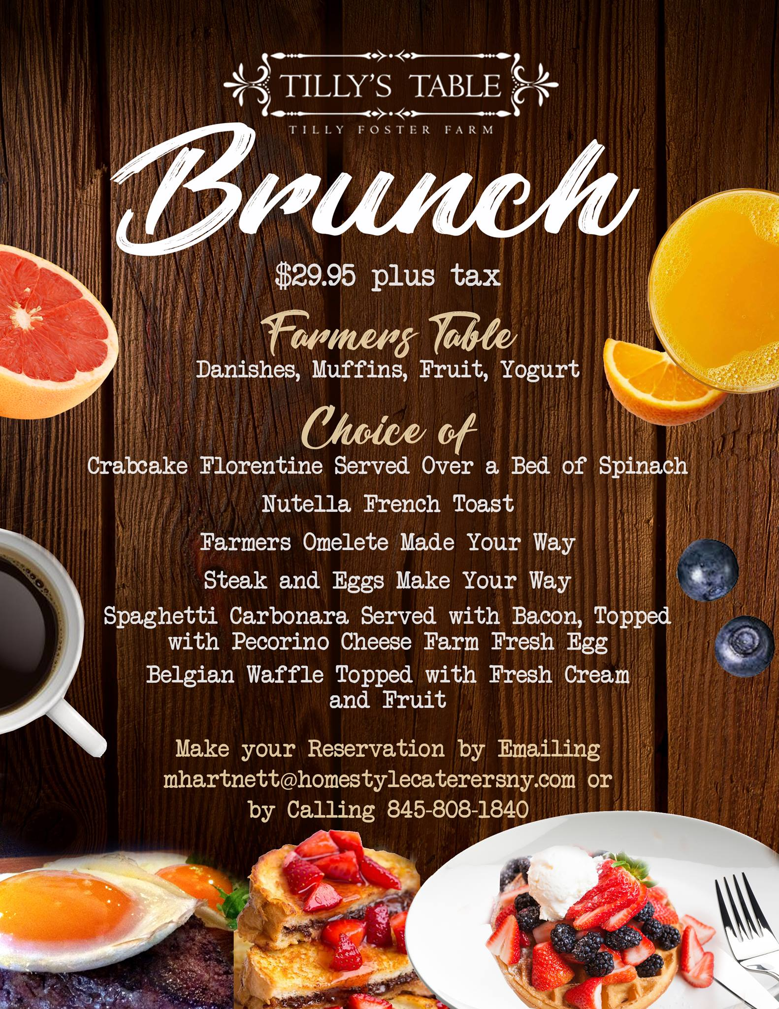 Sunday Brunch At Tillys Table Starting On Jan Th - Farmers table reservation