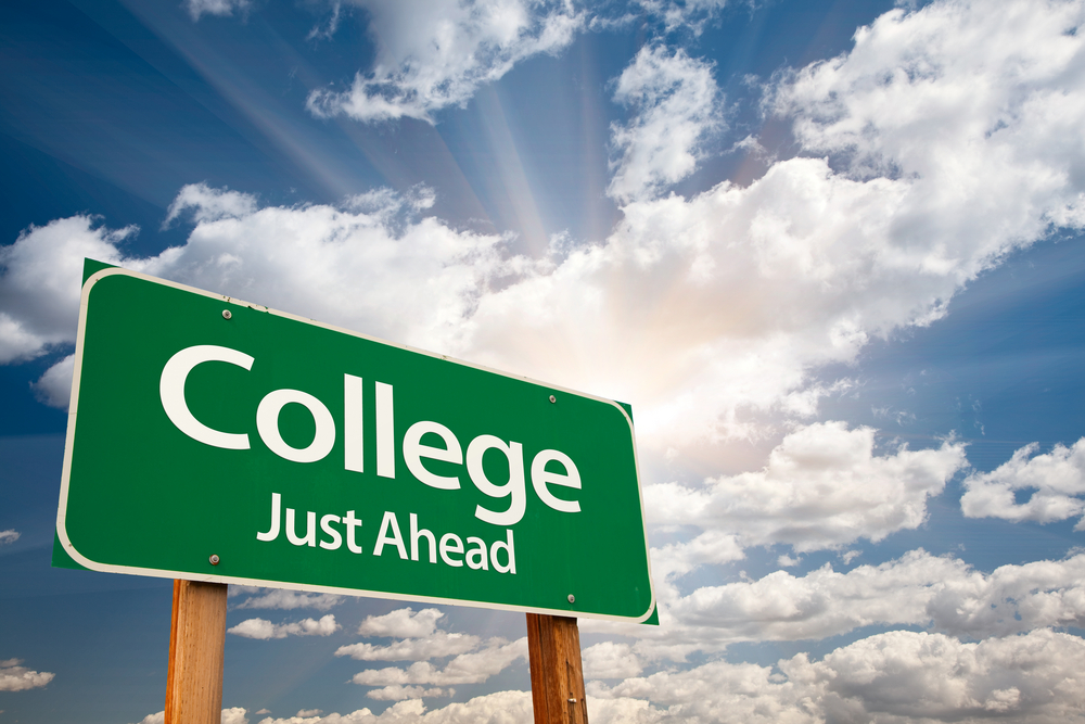 college just ahead road sign