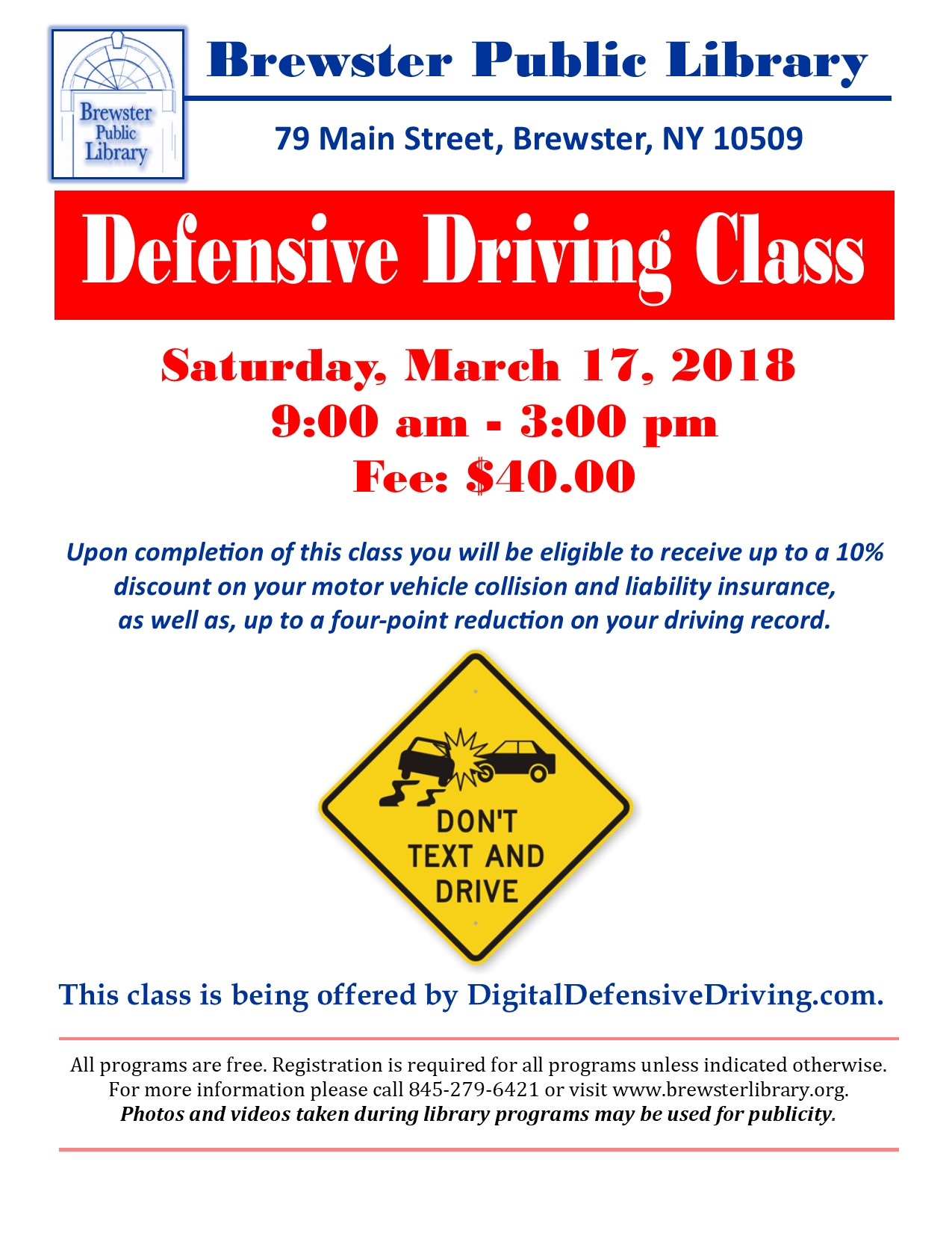 March 17 Defensive Driving Course At Brewster Library