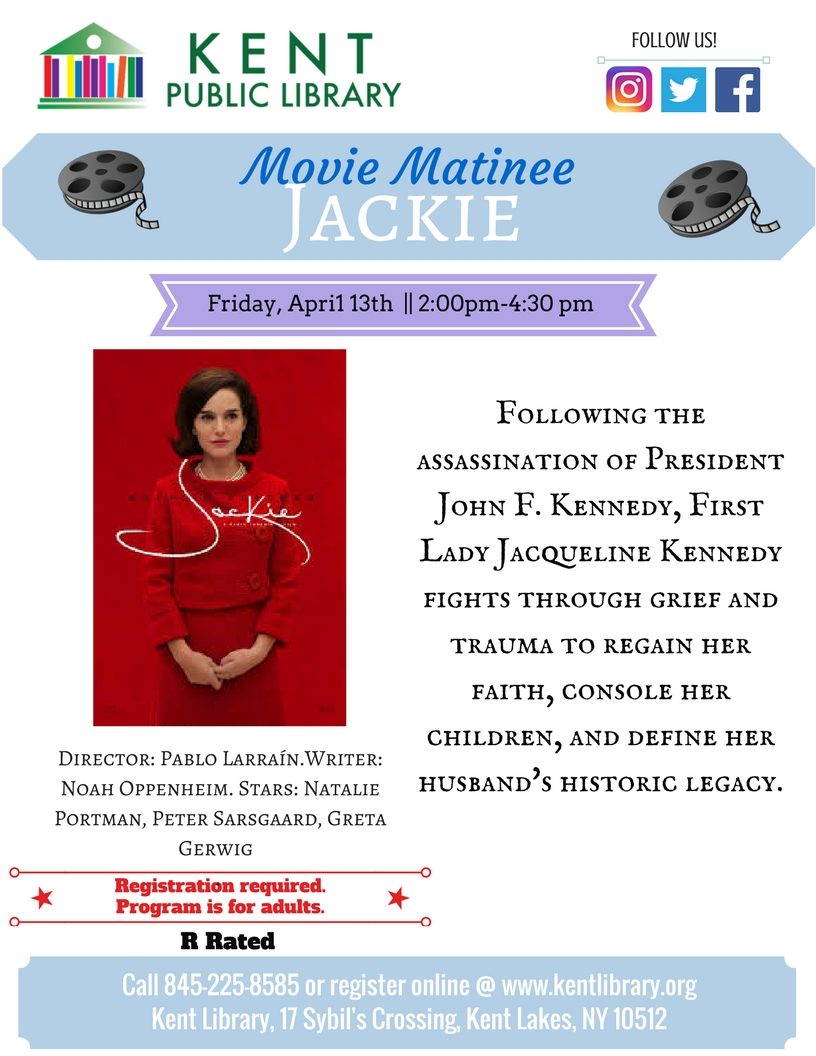 Free Movie Matinee featuring Jackie at Kent Library on April 13