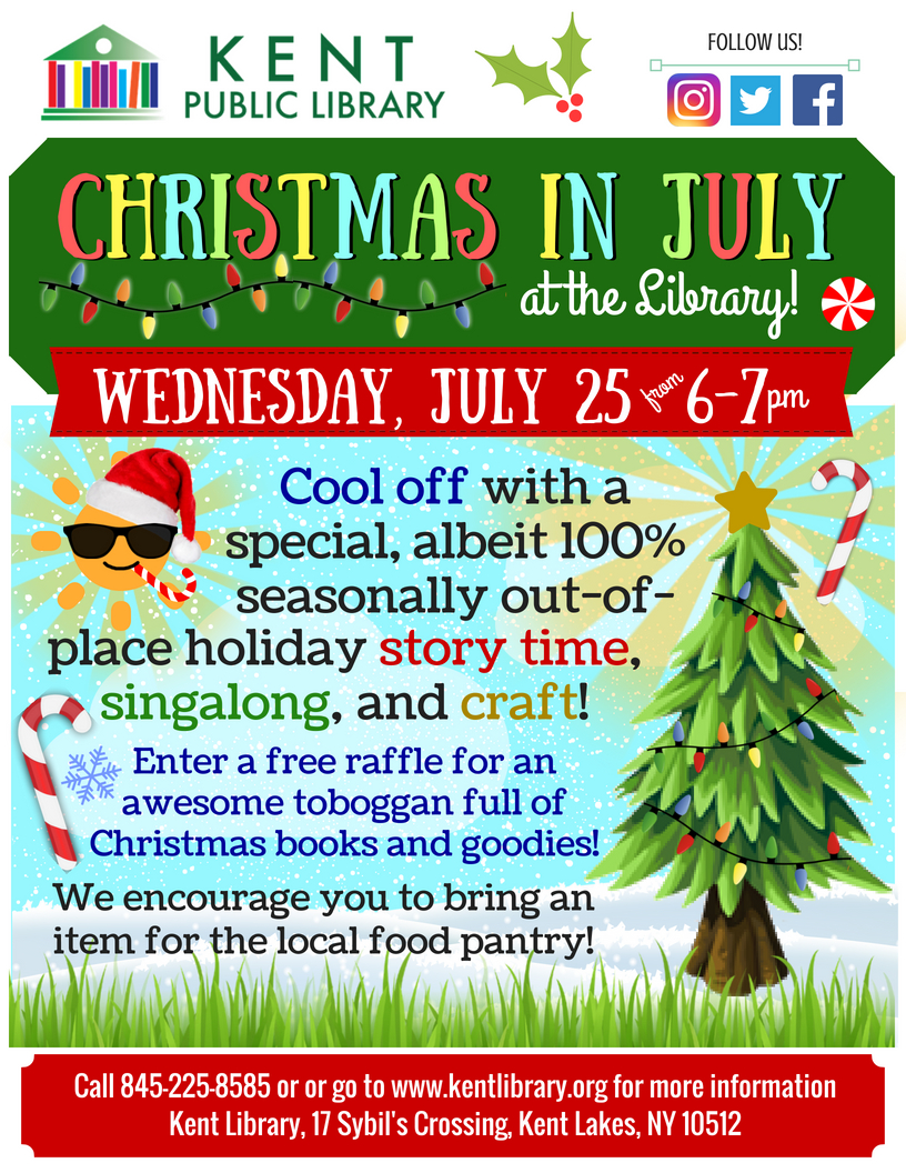Christmas in July at Kent Library July 25